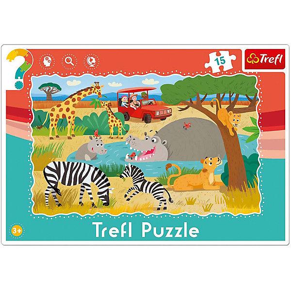 Пазлы Trefl Сафари, 15 элементовПазлы для малышей<br>Очень рекомендуем приобрести красочные пазлы для самых маленьких Сафари от известного бренда Trefl. Ваш малыш сможет собрать картинку, на которой изображена настоящая Африка, со своими обитателями: жирафами, львами, бегемотами и тиграми. Жирафы щиплют травку, бегемоты купаются в воде, жирафик бегает около мамы, тигренок лезет на дерево. Также там изображен автомобиль с туристами. Собирать пазлы очень полезно, это занятие хорошо развивает мелкую моторику рук, память и логическое мышление. Производитель позаботился о качестве своих товаров, поэтому все детали выполнены из высококачественного картона с антибликовым покрытием.  <br>Пазл включает в себя 15 элементов. <br>Рекомендуемый возраст: от 3 лет.<br><br>Ширина мм: 331<br>Глубина мм: 233<br>Высота мм: 10<br>Вес г: 181<br>Возраст от месяцев: 36<br>Возраст до месяцев: 60<br>Пол: Унисекс<br>Возраст: Детский<br>Количество деталей: 15<br>SKU: 4250586