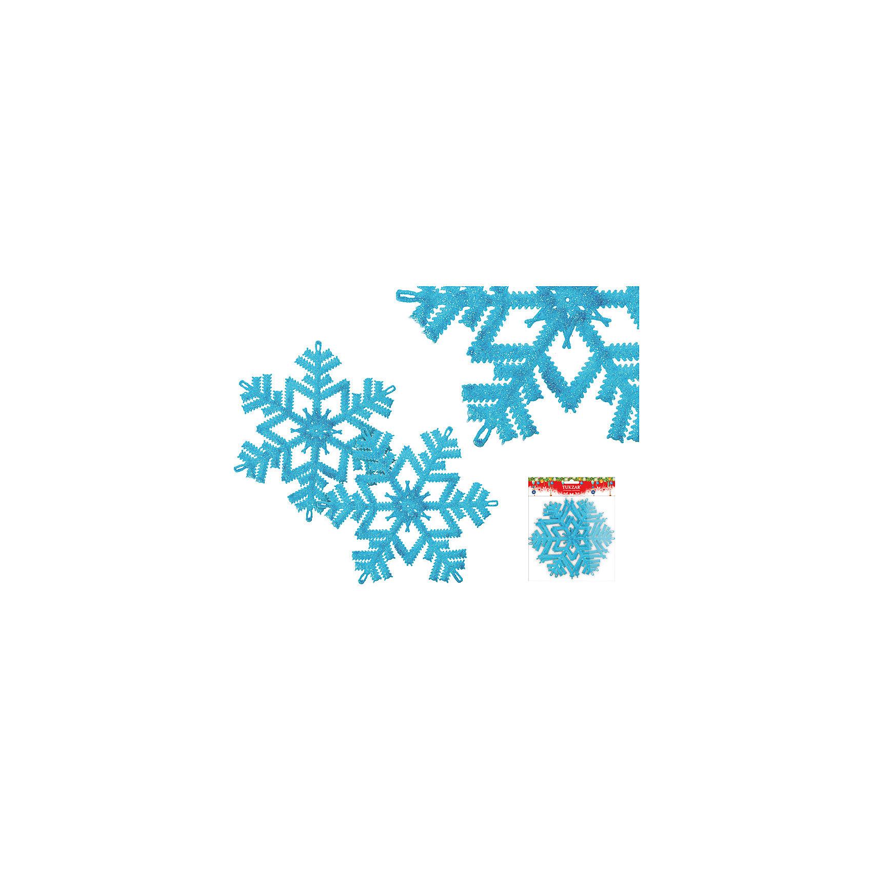 Набор пластиковых украшений Снежинки с блестками, 2 шт, TUKZARНовинки Новый Год<br>Набор красивых пластиковых украшений Снежинки с блестками, 2 шт, TUKZAR преобразит Вашу елочку и поможет и поможет создать волшебную атмосферу новогодних праздников! Блестящие обсыпанные блестками снежинки прекрасно смотрятся на елке и будут превосходно сочетаться с другими новогодними украшениями! <br><br>Дополнительная информация:<br>-Материалы: пластик, глитер (блестки)<br>-Диаметр снежинки: 16 см<br><br>Снежинки станут замечательным украшением Вашей елочки и приятным подарком для родных и друзей! <br><br>Набор пластиковых украшений Снежинки с блестками, 2 шт, TUKZAR можно купить в нашем магазине.<br><br>Ширина мм: 160<br>Глубина мм: 160<br>Высота мм: 20<br>Вес г: 100<br>Возраст от месяцев: 36<br>Возраст до месяцев: 1188<br>Пол: Унисекс<br>Возраст: Детский<br>SKU: 4251089