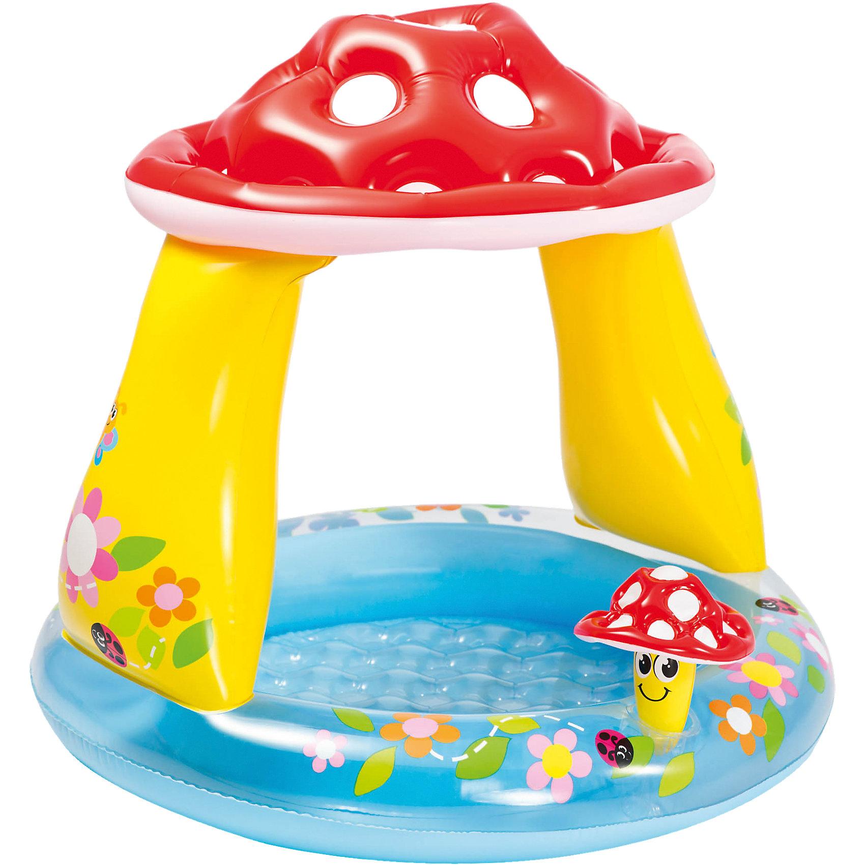 Детский бассейн Мухомор, IntexДетский бассейн Мухомор, Intex (Интекс) - яркий, качественный и безопасный бассейн отличное решение для отдыха ваших деток в летнее время.<br>Детский надувной бассейн «Мухомор» от Intex (Интекс) гарантирует вашему малышу море удовольствия, ведь он такой яркий и красочный. Бассейн имеет широкие невысокие бортики, предохраняющие малыша от травм, а наличие крыши в виде шляпки мухомора защитит ребенка от ярких солнечных лучей. Бассейн декорирован надувным грибочком. Глубина бассейна небольшая - всего 13 см, поэтому в нем могут купаться маленькие дети от 1 года под присмотром родителей. Изготовлен из прочного винила.<br><br>Дополнительная информация:<br><br>- Для детей от 1 года до 3 лет<br>- Размер: 102х89 см.<br>- Объем : 45 л.<br>- Глубина: 13 см.<br>- Тип дна: надувное<br>- Материал: высокопрочный ПВХ (винил) толщина 0,25 мм.<br>- Вес: 1,5 кг.<br><br>Детский бассейн Мухомор, Intex (Интекс) можно купить в нашем интернет-магазине.<br><br>Ширина мм: 258<br>Глубина мм: 228<br>Высота мм: 94<br>Вес г: 1433<br>Возраст от месяцев: 12<br>Возраст до месяцев: 36<br>Пол: Унисекс<br>Возраст: Детский<br>SKU: 4251406