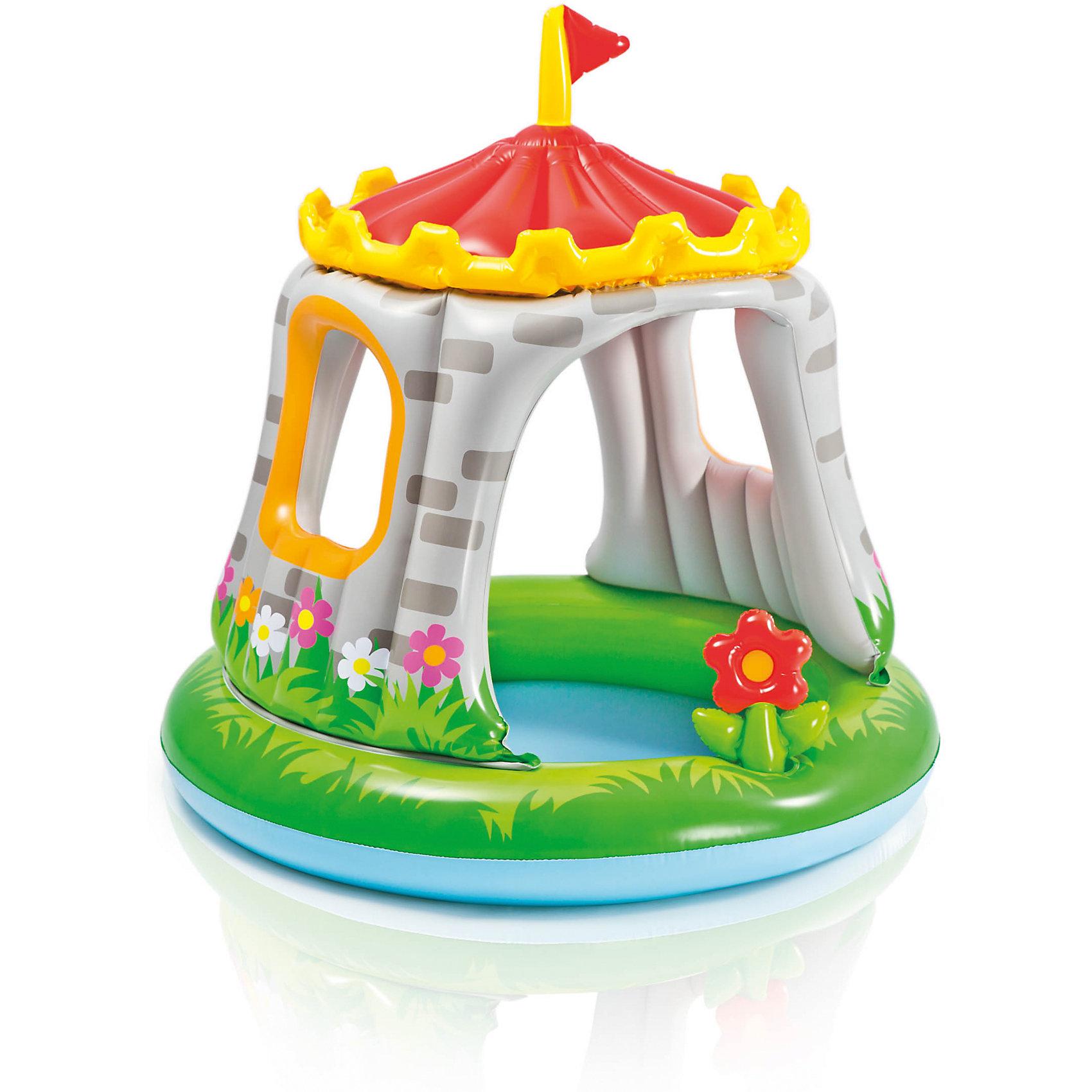 Детский бассейн Замок, IntexБассейны<br>Детский бассейн Замок, Intex (Интекс) - яркий, качественный и безопасный бассейн отличное решение для отдыха ваших деток в летнее время.<br>Детский надувной бассейн «Замок» от Intex (Интекс) гарантирует вашему малышу море удовольствия, ведь он такой яркий и красочный, похож на настоящий дворец. Бассейн имеет широкие невысокие бортики, предохраняющие малыша от травм, а наличие навеса в виде красивой красной крыши с желтыми зубчиками и флагом защитит ребенка от ярких солнечных лучей. На боковых стенках бассейна имеются два окошка, в которые ребенок может выглядывать или бросать  через них мячик. Бассейн декорирован надувным красным цветком. Глубина бассейна небольшая - всего 13 см, поэтому в нем могут купаться маленькие дети от 1 года под присмотром родителей. Изготовлен из прочного винила.<br><br>Дополнительная информация:<br><br>- Диметр: 122 см.<br>- Объем : 68 л.<br>- Глубина: 13 см.<br>- Тип дна: ненадувное<br>- Материал: высокопрочный ПВХ (винил) толщина 0,25 мм.<br>- Вес: 2,5 кг.<br><br>Детский бассейн Замок, Intex (Интекс) можно купить в нашем интернет-магазине.<br><br>Ширина мм: 310<br>Глубина мм: 268<br>Высота мм: 107<br>Вес г: 2430<br>Возраст от месяцев: 12<br>Возраст до месяцев: 36<br>Пол: Унисекс<br>Возраст: Детский<br>SKU: 4251407