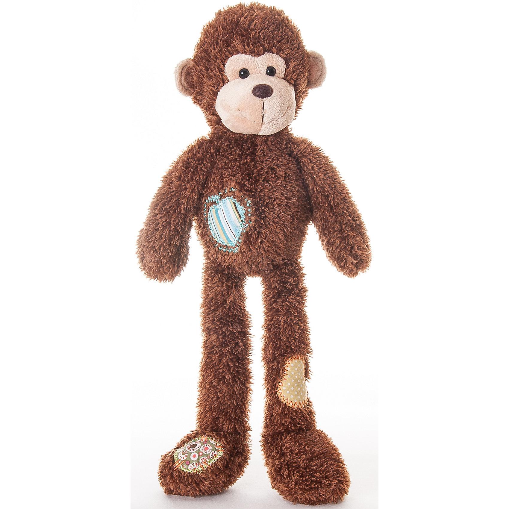 AURORA Мягкая игрушка Обезьянка с заплатками, 45 см., AURORA aurora мягкая игрушка тигр 28 см