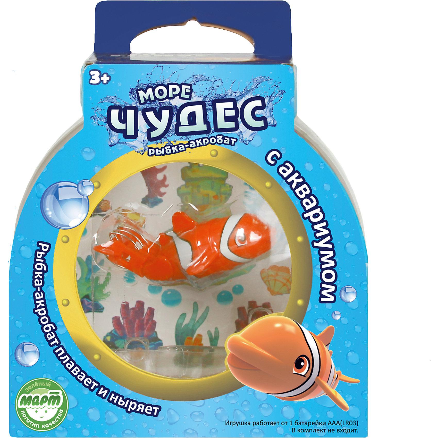 Рыбка –акробат Лаки с аквариумом, Море чудесРоборыбки и русалки<br>Ваш ребенок мечтает о рыбке? С этим замечательным набором мечта станет реальностью! Рыбка-акробат Лаки так похожа на настоящего морского обитателя! Она плавает за счёт микро-моторчика в хвосте, траектория движений зависит от наклона хвоста. Лаки виртуозно умеет нырять на глубину и быстро подниматься на поверхность. Очаровательная рыбка подарит детям множество положительных эмоция и улыбок! <br><br>Дополнительная информация:<br><br>- Размер рыбки: 9 см.<br>- Размер аквариума: 16х16х10 см. <br>- Материал: пластик.<br>- Элемент питания: 1 батарейка ААА (в комплект не входит).<br><br>Рыбку –акробата Лаки с аквариумом, Море чудес, можно купить в нашем магазине.<br><br>Ширина мм: 160<br>Глубина мм: 110<br>Высота мм: 200<br>Вес г: 250<br>Возраст от месяцев: 36<br>Возраст до месяцев: 72<br>Пол: Унисекс<br>Возраст: Детский<br>SKU: 4252052