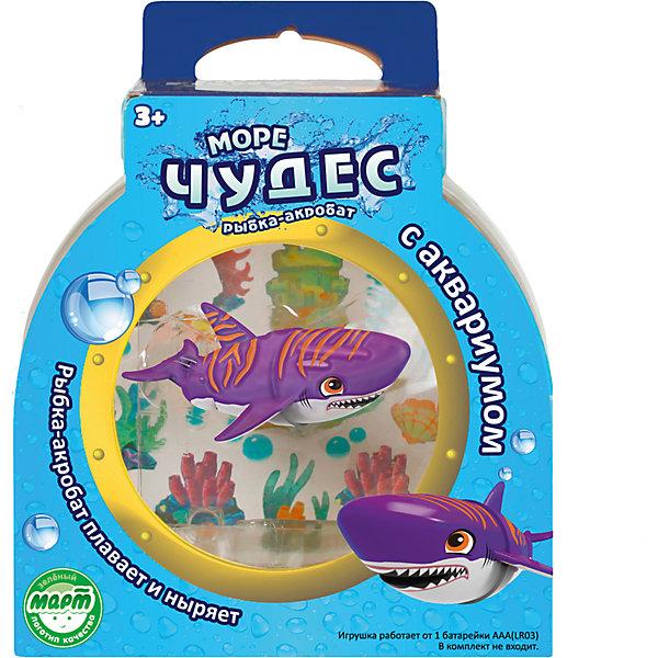 Акула-акробат Тайгер с аквариумом, Море чудесРоборыбки<br>Ваш ребенок мечтает о рыбке? С этим замечательным набором мечта станет реальностью! Озорная акула-акробат Тайгер так похожа на настоящего морского обитателя! Она плавает за счёт микро-моторчика в хвосте, траектория движений зависит от наклона хвоста. Тайгер виртуозно умеет нырять на глубину и быстро подниматься на поверхность. Очаровательная акула подарит детям множество положительных эмоция и улыбок! <br><br>Дополнительная информация:<br><br>- Размер акулы: 9 см.<br>- Размер аквариума: 16х16х10 см. <br>- Материал: пластик.<br>- Элемент питания: 1 батарейка ААА (в комплект не входит).<br><br>Акулу – акробата Тайгера с аквариумом, Море чудес, можно купить в нашем магазине.<br><br>Ширина мм: 160<br>Глубина мм: 110<br>Высота мм: 200<br>Вес г: 250<br>Возраст от месяцев: 36<br>Возраст до месяцев: 72<br>Пол: Унисекс<br>Возраст: Детский<br>SKU: 4252053