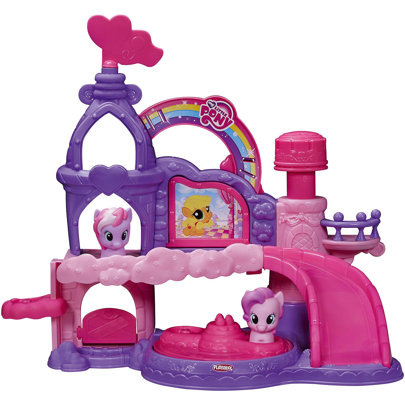 Музыкальный замок Пони, My little Pony, PLAYSKOOLПопулярные игрушки<br>Благодаря 5 подвижным частям, Музыкальный Замок развивает моторику ребенка. В комплекте идут 2 фигурки пони.<br><br>Ширина мм: 81<br>Глубина мм: 483<br>Высота мм: 406<br>Вес г: 1600<br>Возраст от месяцев: 18<br>Возраст до месяцев: 72<br>Пол: Женский<br>Возраст: Детский<br>SKU: 4252296