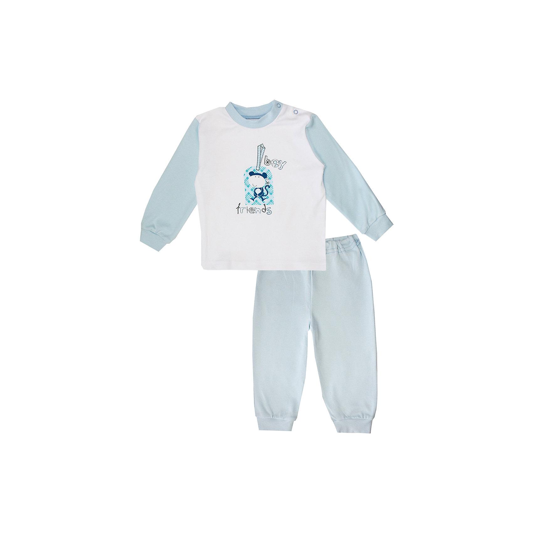 Пижама для мальчика КотМарКотПижама для мальчика из мягкого, натурального материала с интересным принтом<br>Состав:<br>100% хлопок<br><br>Ширина мм: 281<br>Глубина мм: 70<br>Высота мм: 188<br>Вес г: 295<br>Цвет: голубой/белый<br>Возраст от месяцев: 9<br>Возраст до месяцев: 12<br>Пол: Мужской<br>Возраст: Детский<br>Размер: 80,110,104,92,86,98<br>SKU: 4254853