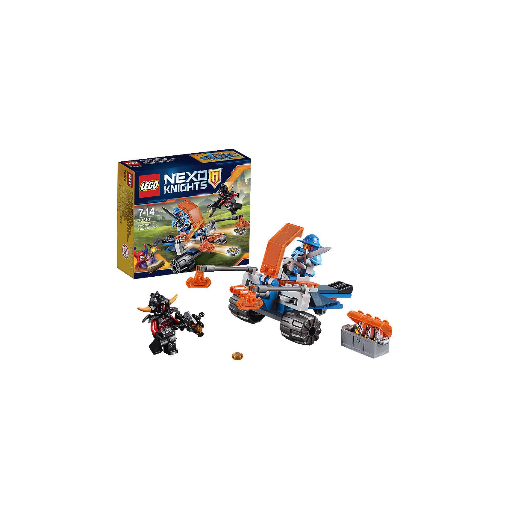 LEGO NEXO KNIGHTS 70310: Королевский боевой бластерНайди цель и стреляй! Направь двухдисковое орудие на зловещего Пеплометателя! Перезаряжай орудие, используя боеприпасы из сундука. Защити королевство любой ценой, искусно обращаясь с мечом и могучим топором.<br><br>LEGO Nexo Knights ( ЛЕГО Нексо Найт) - это невероятный мир прогресса и новых технологий, в котором все же нашлось место для настоящих рыцарей, магии и волшебства. Удивительное сочетание футуризма и средневековой романтики увлекает и детей, и взрослых, а множество наборов серии и высокая детализация позволяют создать свой волшебный мир Nexo Knights!<br><br>Дополнительная информация:<br><br>- Конструкторы ЛЕГО развивают усидчивость, внимание, фантазию и мелкую моторику. <br>- 2 фигурки: королевский солдат и Пеплометатель.<br>- Комплектация: 2 фигурки, бластер, сундук, аксессуары. <br>- Количество деталей: 76.<br>- Серия LEGO Nexo Knights (ЛЕГО Нексо Найт).<br>- Материал: пластик.<br>- Размер боевого бластера в собранном виде: 7х14х8 см.<br>- Размер упаковки: 14х4,6х12 см.<br>- Вес: 0.11 кг.<br><br>LEGO NEXO KNIGHTS 70310: Королевский боевой бластер можно купить в нашем магазине.<br><br>Ширина мм: 143<br>Глубина мм: 119<br>Высота мм: 45<br>Вес г: 109<br>Возраст от месяцев: 84<br>Возраст до месяцев: 168<br>Пол: Мужской<br>Возраст: Детский<br>SKU: 4258995