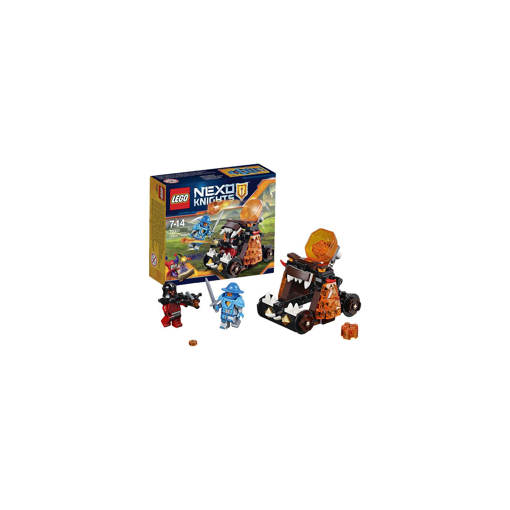 LEGO NEXO KNIGHTS 70311: Безумная катапультаНаправь мощь грозной Безумной катапульты, оснащённой тысячами чудовищных зубов, против Королевского Стражника! Порази его из арбалета, установленного на борту или накрой огнём лавовых камней с катапульты. Войди в королевство Найтония  с помощью устрашающей Безумной катапульты!<br><br>LEGO Nexo Knights ( ЛЕГО Нексо Найт) - это невероятный мир прогресса и новых технологий, в котором все же нашлось место для настоящих рыцарей, магии и волшебства. Удивительное сочетание футуризма и средневековой романтики увлекает и детей, и взрослых, а множество наборов серии и высокая детализация позволяют создать свой волшебный мир Nexo Knights!<br><br>Дополнительная информация:<br><br>- Конструкторы ЛЕГО развивают усидчивость, внимание, фантазию и мелкую моторику. <br>- 2 фигурки: королевский стражник и Магмометатель. <br>- Комплектация: 2 фигурки, катапульта, аксессуары. <br>- Количество деталей: 93.<br>- Серия LEGO Nexo Knights (ЛЕГО Нексо Найт).<br>- Материал: пластик.<br>- Размер катапульты в собранном виде: 9х8х6 см.<br>- Размер упаковки: 14х4,6х12 см.<br>- Вес: 0.13 кг.<br><br>LEGO NEXO KNIGHTS 70311: Безумная катапульта можно купить в нашем магазине.<br><br>Ширина мм: 145<br>Глубина мм: 118<br>Высота мм: 49<br>Вес г: 122<br>Возраст от месяцев: 84<br>Возраст до месяцев: 168<br>Пол: Мужской<br>Возраст: Детский<br>SKU: 4258996