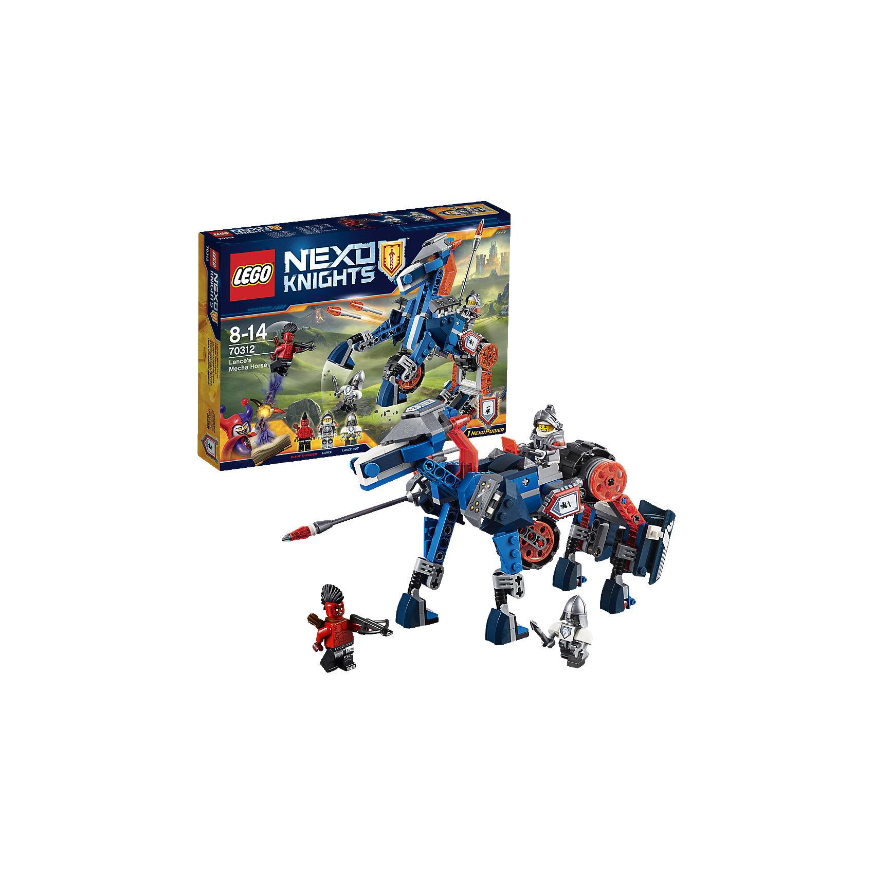 LEGO NEXO KNIGHTS 70312: Ланс и его механический коньОседлай и отправь в бой механического коня Ланса 2-в-1! Сразись со зловещим Огнеметателем в виде коня или используй возможность перестроить коня в супер-скоростной автомобиль. Помоги NEXO рыцарю Лансу победить врага при помощи реактивных ракет или отправь в гущу событий испытанного временем бота Ланса,а потом, можешь взять себе его славу! В набор входит щит для сканирования с NEXO Силой - Притягивающий луч.<br><br>LEGO Nexo Knights ( ЛЕГО Нексо Найт) - это невероятный мир прогресса и новых технологий, в котором все же нашлось место для настоящих рыцарей, магии и волшебства. Удивительное сочетание футуризма и средневековой романтики увлекает и детей, и взрослых, а множество наборов серии и высокая детализация позволяют создать свой волшебный мир Nexo Knights!<br><br>Дополнительная информация:<br><br>- Конструкторы ЛЕГО развивают усидчивость, внимание, фантазию и мелкую моторику. <br>- 3 фигурки: Ланс Ричмонд, бот-оруженосец  Деннис и Огнеметатель.<br>- Комплектация: 3 фигурки, щит для сканирования, механический конь (перестаивается в автомобиль), аксессуары. <br>- Количество деталей: 237.<br>- Серия LEGO Nexo Knights (ЛЕГО Нексо Найт).<br>- Материал: пластик.<br>- Размер механического коня в собранном виде:  14х23х11 см.<br>- Размер скоростного автомобиля: 9х25х11 см.<br>- Размер упаковки: 26х4,6х19 см.<br>- Вес: 0.281 кг.<br><br>LEGO NEXO KNIGHTS 70312: Ланс и его механический конь можно купить в нашем магазине.<br><br>Ширина мм: 262<br>Глубина мм: 189<br>Высота мм: 49<br>Вес г: 323<br>Возраст от месяцев: 96<br>Возраст до месяцев: 168<br>Пол: Мужской<br>Возраст: Детский<br>SKU: 4258997
