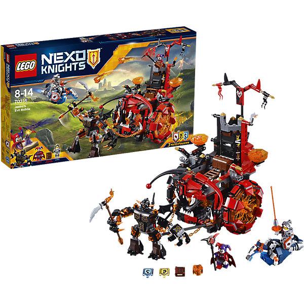 LEGO NEXO KNIGHTS 70316: Джестро-мобильПластмассовые конструкторы<br>Лансу Ричмонду предстоит эпическая битва! Запрыгивай на Парящего коня и разбей громадного Спаркса! Берегись Джестро, прячущегося в своем Джестро-мобиле, не попадись в ловушку и не загреми в тюрьму. Стащи Книгу Монстров прямо из-под носа Джестро и не дай ему собрать свою ужасающую армию! <br><br>LEGO Nexo Knights ( ЛЕГО Нексо Найт) - это невероятный мир прогресса и новых технологий, в котором все же нашлось место для настоящих рыцарей, магии и волшебства. Удивительное сочетание футуризма и средневековой романтики увлекает и детей, и взрослых, а множество наборов серии и высокая детализация позволяют создать свой волшебный мир Nexo Knights!<br><br>Дополнительная информация:<br><br>- Конструкторы ЛЕГО развивают усидчивость, внимание, фантазию и мелкую моторику. <br>- 2 минифигурки с оружием и аксессуарами: Джестро и Ланс.<br>- Комплектация: 2 фигурки, колесница, циклоп, аксессуары, 3 щита для сканирования с НЕКСО Силами: «Клонирование», «Мощный Удар» и «Морской Дракон».<br>- Количество деталей: 658<br>- Серия LEGO Nexo Knights (ЛЕГО Нексо Найт).<br>- Материал: пластик.<br>- Размер колесницы в собранном виде: 25х26х17 см.<br>- Размер циклопа Спаркса: 10 см.<br>- Размер Парящего коня: 4х10х5 см.<br>- Размер упаковки: 48х6х28 см.<br>- Вес: 0.75  кг.<br><br>LEGO NEXO KNIGHTS 70316: Джестро-мобиль можно купить в нашем магазине.<br>Ширина мм: 483; Глубина мм: 278; Высота мм: 66; Вес г: 926; Возраст от месяцев: 96; Возраст до месяцев: 168; Пол: Мужской; Возраст: Детский; SKU: 4259001;