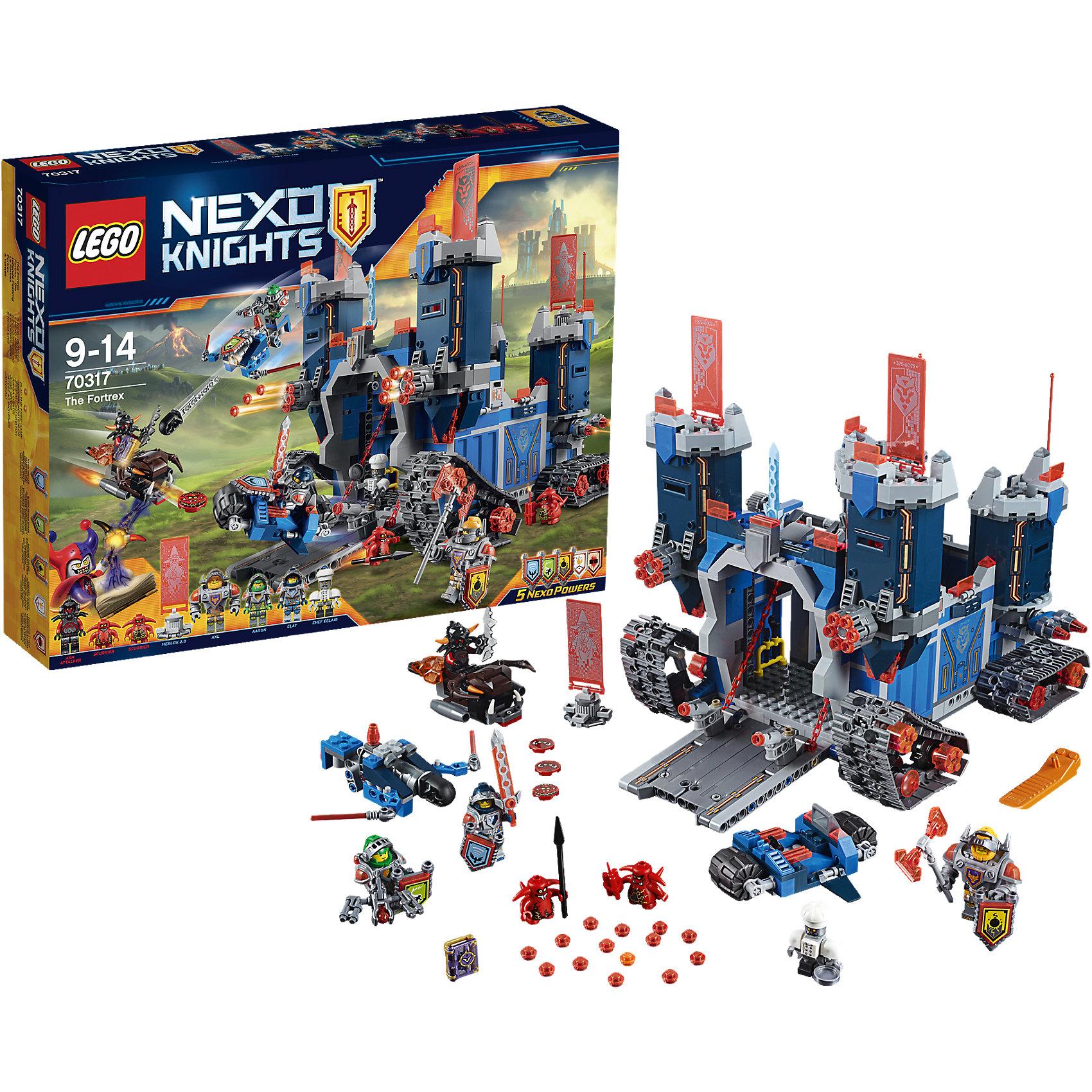 LEGO NEXO KNIGHTS 70317: Фортрекс - мобильная крепостьКогда Джестро угрожает Найтонии, рыцари LEGO NEXO KNIGHTS встают на защиту королевства! Отправь в бой Фортрекс, огромную мобильную крепость! Захвати в плен Пеплометателя и Шустриков с помощью рыцарского мотоцикла и Аэромолота V1. Штаб рыцарей, оснащённый по последнему слову техники, находится за раскладными стенами. Получи указания от Мерлока 2.0 и составь план следующей миссии за круглым столом— вместе вы сможете остановить Джестро и не дать ему завладеть Книгой Зла. <br><br>LEGO Nexo Knights ( ЛЕГО Нексо Найт) - это невероятный мир прогресса и новых технологий, в котором все же нашлось место для настоящих рыцарей, магии и волшебства. Удивительное сочетание футуризма и средневековой романтики увлекает и детей, и взрослых, а множество наборов серии и высокая детализация позволяют создать свой волшебный мир Nexo Knights!<br><br>Дополнительная информация:<br><br>- Конструкторы ЛЕГО развивают усидчивость, внимание, фантазию и мелкую моторику. <br>- 7 минифигурок с оружием и аксессуарами: Клэй, Аарон, Аксель, шеф-повар Эклер, Пеплометатель и 2 Шустрика.<br>- Комплектация: 7 фигурок, 5щитов для сканирования, дающих NEXO Силы: Сила земли, Сверхскорость, Клич Ястреба, Куриная Атака и Электрическая Атака, крепость, спидер, мотоцикл.<br>- Количество деталей: 1140.<br>- Серия LEGO Nexo Knights (ЛЕГО Нексо Найт).<br>- Материал: пластик.<br>- Размер крепости в распахнутом виде: 25х37х23 см.<br>- Размер мотоцикла Клэя: 3х9х7 см.<br>- Размер  Аэромолота V1 Аарона:5х10х13 см.<br>- Размер огненного спидера Пеплометателя: 4х10х3 см.<br>- Размер упаковки: 48х9,5х38 см.<br>- Вес: 1.7 кг.<br><br>LEGO NEXO KNIGHTS 70317: Фортрекс - мобильная крепость можно купить в нашем магазине.<br><br>Ширина мм: 482<br>Глубина мм: 372<br>Высота мм: 97<br>Вес г: 1777<br>Возраст от месяцев: 96<br>Возраст до месяцев: 168<br>Пол: Мужской<br>Возраст: Детский<br>SKU: 4259002