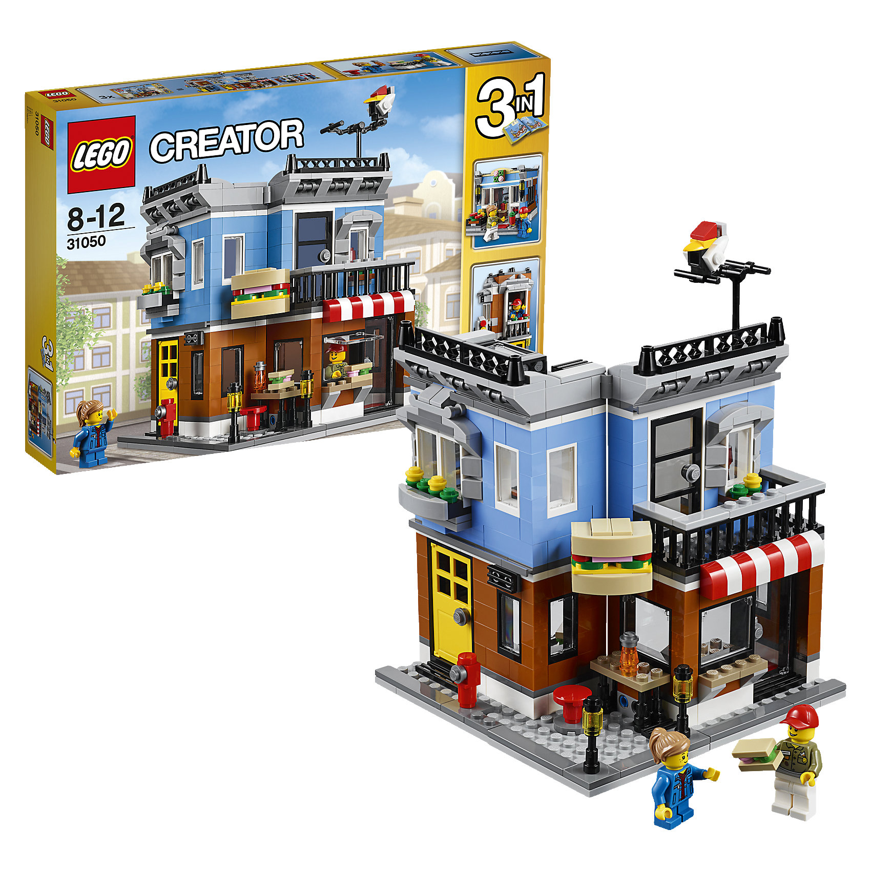 LEGO Creator 31050: Магазинчик на углуПластмассовые конструкторы<br>Открой собственный магазин с полосатым тентом, ярким цветным фасадом и смешной вывеской в виде сэндвича. Готовь бутерброды в уютной кухне, затем открывай большие окошки и приглашай проголодавшихся посетителей, которые останавливаются перекусить на оживленном тротуаре с уличными фонарями и пожарным гидрантом. Когда придёт время для отдыха, поднимайся по лестнице в уютную квартиру на втором этаже, где есть удобное кресло, лампа, выход на балкон и террасу на крыше. Перестрой модель в небольшой таунхаус или цветочный магазин.<br><br>LEGO Creator (Лего Криэйтор) - серия конструкторов Лего, с помощью которых можно создать самые невероятные и детализированные постройки, оригинальных героев, необыкновенные транспортные средства. Из деталей одного набора можно построить 3 разные модели.  С конструкторами Лего Криэйтор ребёнок сможет каждый день придумывать новые игровые сюжеты, создавать фантастический мир, воплощая фантазии в реальность. <br><br>Дополнительная информация:<br><br>- Конструкторы ЛЕГО развивают усидчивость, внимание, фантазию и мелкую моторику. <br>- 2 фигурки.<br>- В комплекте 2 фигурки, магазин, аксессуары. <br>- Количество деталей: 467<br>- Серия LEGO Creator (Лего Криэйтор).<br>- Материал: пластик.<br>- Размер упаковки: 38х6х26 см.<br>- Вес: 0.755  кг.<br><br>LEGO Creator 31050: Магазинчик на углу можно купить в нашем магазине.<br><br>Ширина мм: 384<br>Глубина мм: 264<br>Высота мм: 60<br>Вес г: 746<br>Возраст от месяцев: 96<br>Возраст до месяцев: 144<br>Пол: Унисекс<br>Возраст: Детский<br>SKU: 4259006