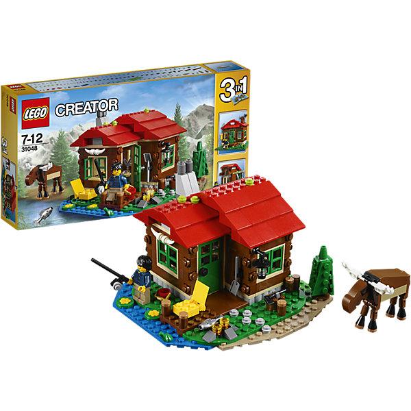 LEGO Creator 31048: Домик на берегу озераПластмассовые конструкторы<br>Создай свой собственный уголок для отдыха, расположенный в милом местечке и выполненный в приятной красной, коричневой, зеленой и синей цветовой гамме, с уютным интерьером, с плитой, кроватью и столом. Наруби дров для костра, организуй место для рыбалки или просто наслаждайся тишиной и спокойствием в компании дружелюбного лося и крошечной лягушки. Когда тебе захочется перемен, собери обсерваторию или небольшую хижину.<br><br>LEGO Creator (Лего Криэйтор) - серия конструкторов Лего, с помощью которых можно создать самые невероятные и детализированные постройки, оригинальных героев, необыкновенные транспортные средства. Из деталей одного набора можно построить 3 разные модели.  С конструкторами Лего Криэйтор ребёнок сможет каждый день придумывать новые игровые сюжеты, создавать фантастический мир, воплощая фантазии в реальность. <br><br>Дополнительная информация:<br><br>- Конструкторы ЛЕГО развивают усидчивость, внимание, фантазию и мелкую моторику. <br>- 1 фигурка.<br>- В комплекте 1 фигурка, фигурка лося, дом, аксессуары. <br>- Количество деталей: 368<br>- Серия LEGO Creator (Лего Криэйтор).<br>- Материал: пластик.<br>- Размер упаковки: 35х6х19 см.<br>- Вес: 0.66 кг.<br><br>LEGO Creator 31048: Домик на берегу озера можно купить в нашем магазине.<br><br>Ширина мм: 355<br>Глубина мм: 190<br>Высота мм: 60<br>Вес г: 611<br>Возраст от месяцев: 84<br>Возраст до месяцев: 144<br>Пол: Унисекс<br>Возраст: Детский<br>SKU: 4259007