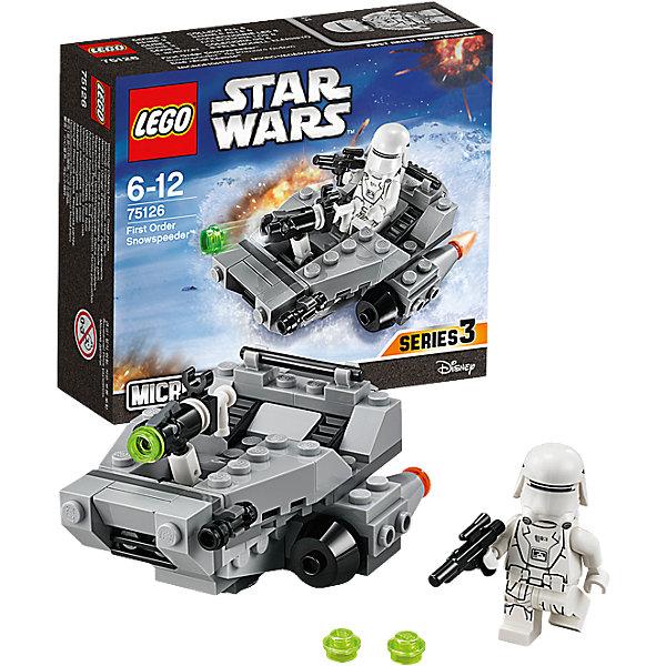 LEGO Star Wars 75126: Снежный спидер Первого ОрденаИгрушки<br>LEGO Star Wars (ЛЕГО Звездные войны) 75126: Снежный спидер Первого Ордена станет прекрасным подарком для всех поклонников знаменитой киносаги. Снежный спидер Первого Ордена был специально разработан для быстрого передвижения по заснеженным планетам и транспортировки штурмовиков и вооружения к местам сражений. Модель ЛЕГО очень похожа на свой прототип, прекрасно детализирована и состоит из серых и черных деталей. Спереди установлены малые орудия и мощная складная пушка, выстреливающая при нажатии на небольшой рычаг. Два симметричных двигателя по бокам корпуса помогают увеличить маневренность и управляемость. В сиденье пилота можно посадить минифигурку штурмовика, вооруженного бластером (входит в комплект). <br><br>Все конструкторы серии ЛЕГО Звездные войны созданы по мотивам знаменитой киносаги Звездные войны и воспроизводят самые популярные сюжеты и эпизоды фильма. В наборах представлены все основные средства вооружения и боевые единицы, задействованные в фильме.<br>Фантастические истребители, машины, роботы, оружие, фигурки персонажей выполнены очень реалистично, с высокой степенью детализации.<br><br>Дополнительная информация:<br><br>- Игра с конструктором LEGO (ЛЕГО) развивает мелкую моторику ребенка, фантазию и воображение, учит его усидчивости и внимательности.<br>- Количество деталей: 91.<br>- Количество минифигур: 1.<br>- Серия: LEGO Star Wars (ЛЕГО Звездные войны).<br>- Материал: пластик.<br>- Размер модели: 5 х 8 х 6 см.<br>- Размер упаковки: 14 х 4,5 х 12 см.<br>- Вес: 0,11 кг.<br><br>Конструктор LEGO Star Wars (ЛЕГО Звездные войны)  75126: Снежный спидер Первого Ордена можно купить в нашем интернет-магазине.<br>Ширина мм: 143; Глубина мм: 121; Высота мм: 48; Вес г: 101; Возраст от месяцев: 72; Возраст до месяцев: 144; Пол: Мужской; Возраст: Детский; SKU: 4259011;