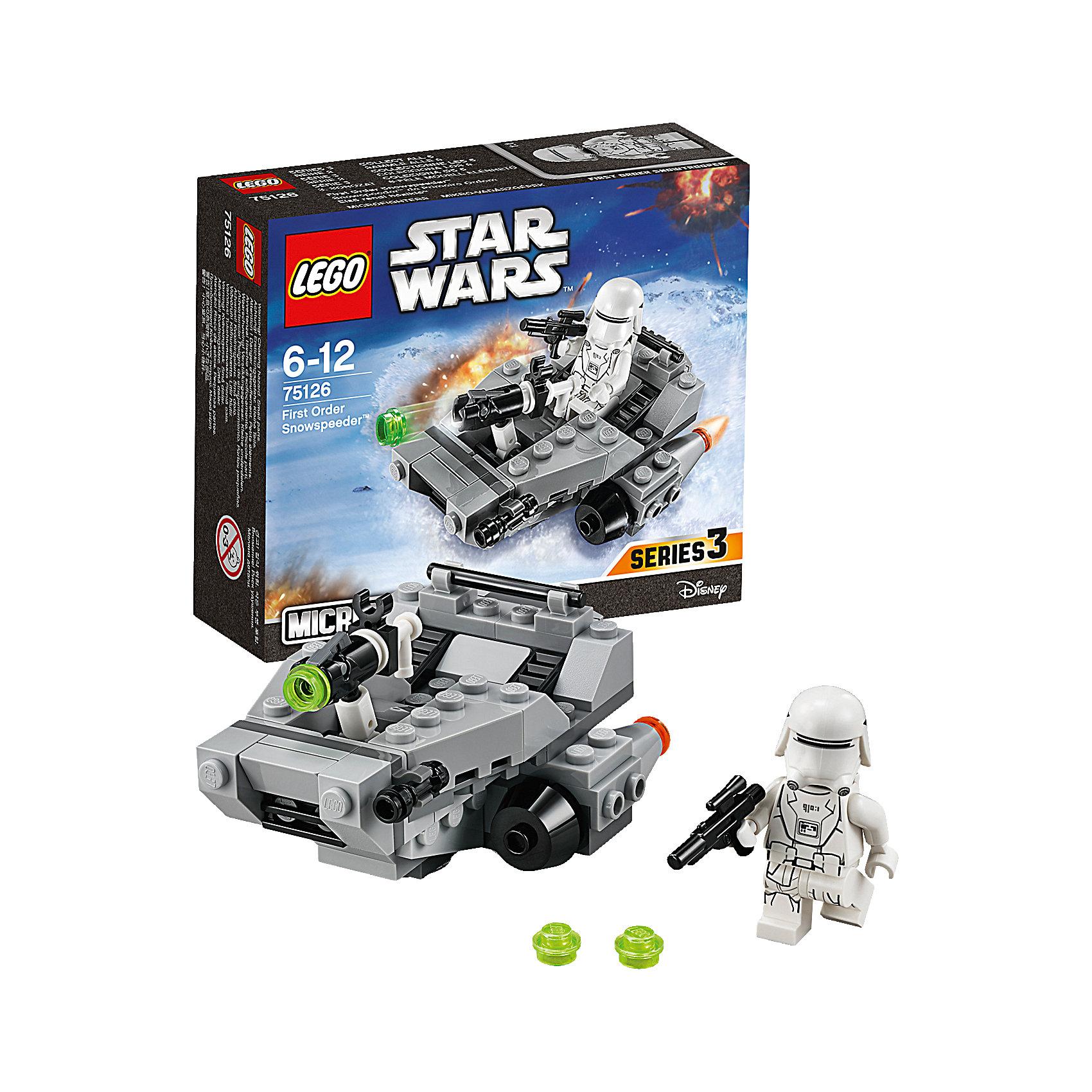 LEGO Star Wars 75126: Снежный спидер Первого ОрденаИгрушки<br>LEGO Star Wars (ЛЕГО Звездные войны) 75126: Снежный спидер Первого Ордена станет прекрасным подарком для всех поклонников знаменитой киносаги. Снежный спидер Первого Ордена был специально разработан для быстрого передвижения по заснеженным планетам и транспортировки штурмовиков и вооружения к местам сражений. Модель ЛЕГО очень похожа на свой прототип, прекрасно детализирована и состоит из серых и черных деталей. Спереди установлены малые орудия и мощная складная пушка, выстреливающая при нажатии на небольшой рычаг. Два симметричных двигателя по бокам корпуса помогают увеличить маневренность и управляемость. В сиденье пилота можно посадить минифигурку штурмовика, вооруженного бластером (входит в комплект). <br><br>Все конструкторы серии ЛЕГО Звездные войны созданы по мотивам знаменитой киносаги Звездные войны и воспроизводят самые популярные сюжеты и эпизоды фильма. В наборах представлены все основные средства вооружения и боевые единицы, задействованные в фильме.<br>Фантастические истребители, машины, роботы, оружие, фигурки персонажей выполнены очень реалистично, с высокой степенью детализации.<br><br>Дополнительная информация:<br><br>- Игра с конструктором LEGO (ЛЕГО) развивает мелкую моторику ребенка, фантазию и воображение, учит его усидчивости и внимательности.<br>- Количество деталей: 91.<br>- Количество минифигур: 1.<br>- Серия: LEGO Star Wars (ЛЕГО Звездные войны).<br>- Материал: пластик.<br>- Размер модели: 5 х 8 х 6 см.<br>- Размер упаковки: 14 х 4,5 х 12 см.<br>- Вес: 0,11 кг.<br><br>Конструктор LEGO Star Wars (ЛЕГО Звездные войны)  75126: Снежный спидер Первого Ордена можно купить в нашем интернет-магазине.<br><br>Ширина мм: 143<br>Глубина мм: 123<br>Высота мм: 48<br>Вес г: 102<br>Возраст от месяцев: 72<br>Возраст до месяцев: 144<br>Пол: Мужской<br>Возраст: Детский<br>SKU: 4259011