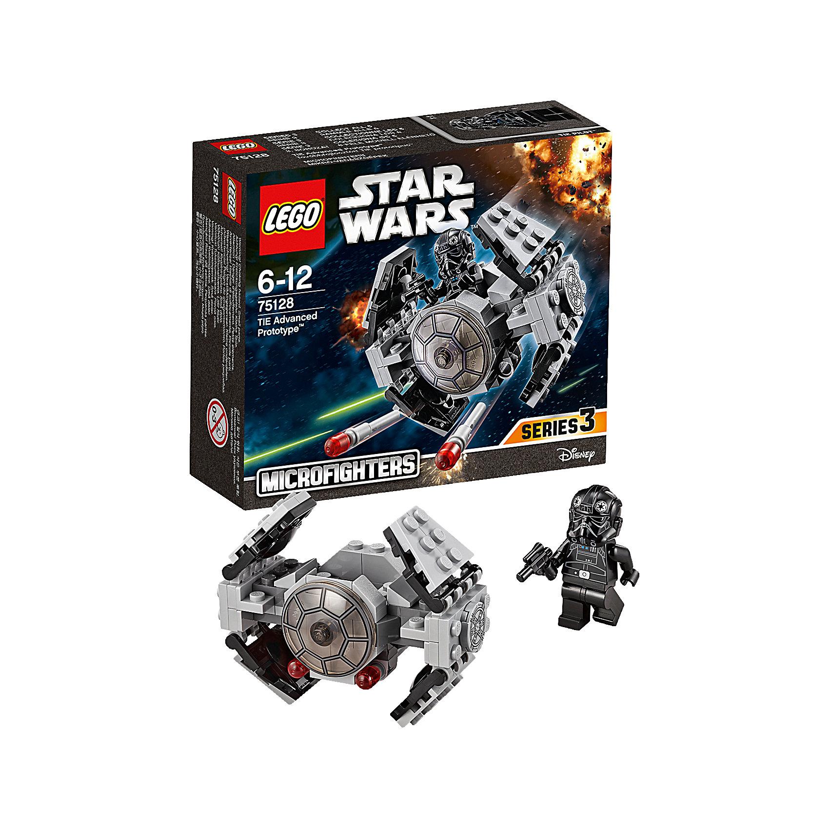 LEGO Star Wars 75128: Усовершенствованный прототип истребителя TIE™LEGO Star Wars (ЛЕГО Звездные войны) 75128: Усовершенствованный прототип истребителя TIE станет прекрасным подарком для всех поклонников знаменитой киносаги. Останови повстанцев с помощью усовершенствованного прототипа истребителя TIE, разверни крылья и заряди ракеты! Посади пилота в кабину и приготовься к захватывающему путешествию по галактике. Модель ЛЕГО прекрасно детализирована, состоит из серых и черных деталей. Спереди на носу корабля прозрачное стекло, две пушки выстреливают ракетками при щелчке. Крылья истребителя могут менять форму, раскрываясь и складываясь. Внутрь корабля можно посадить входящую в комплект минифурку пилота.<br><br>Все конструкторы серии ЛЕГО Звездные войны созданы по мотивам знаменитой киносаги Звездные войны и воспроизводят самые популярные сюжеты и эпизоды фильма. В наборах представлены все основные средства вооружения и боевые единицы, задействованные в фильме.<br>Фантастические истребители, машины, роботы, оружие, фигурки персонажей выполнены очень реалистично, с высокой степенью детализации.<br><br>Дополнительная информация:<br><br>- Игра с конструктором LEGO (ЛЕГО) развивает мелкую моторику ребенка, фантазию и воображение, учит его усидчивости и внимательности.<br>- Количество деталей: 93.<br>- Количество минифигур: 1.<br>- Серия: LEGO Star Wars (ЛЕГО Звездные войны).<br>- Материал: пластик.<br>- Размеры модели при поднятых крыльях: 7 х 5 х 8 см.<br>- Размер упаковки: 14,5 х 5 х 12,5 см.<br>- Вес: 0,115 кг.<br><br>Конструктор LEGO Star Wars (ЛЕГО Звездные войны) 75128: Усовершенствованный прототип истребителя TIE можно купить в нашем интернет-магазине.<br><br>Ширина мм: 144<br>Глубина мм: 121<br>Высота мм: 48<br>Вес г: 94<br>Возраст от месяцев: 72<br>Возраст до месяцев: 144<br>Пол: Мужской<br>Возраст: Детский<br>SKU: 4259013