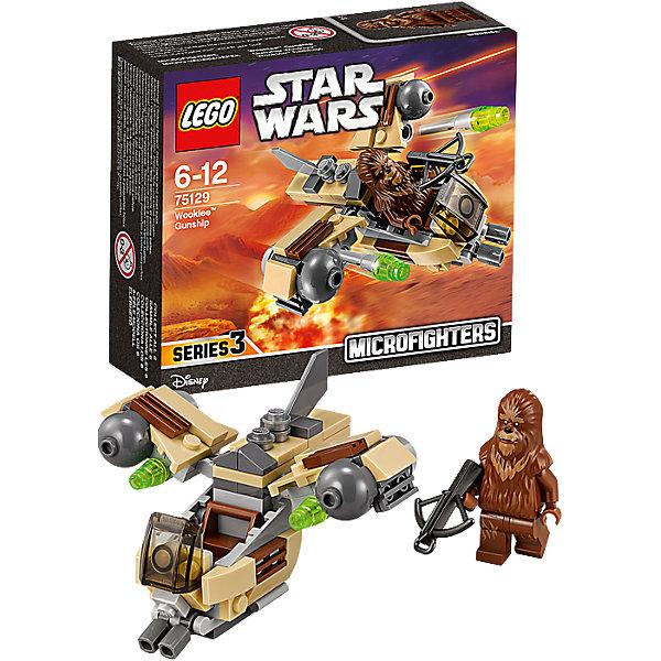 LEGO Star Wars 75129: Боевой корабль Вуки™Игрушки<br>LEGO Star Wars (ЛЕГО Звездные войны) 75129: Боевой корабль Вуки станет прекрасным подарком для всех поклонников знаменитой киносаги. Новый истребитель из серии микрофайтеров Lego Star Wars прекрасно детализирован и очень похож на корабль повстанцев из мультсериала Звездные Войны: Повстанцы. Спереди на носу корабля размещается кабина пилота с сиденьем и подвижные декоративные пушки, сзади прикреплен хвостовой плавник. В крылья корабля встроены мощные двигатели, под которыми находятся пусковые установки со стреляющими снарядами-ракетками. Также, на крыльях и корпусе расположены решетки радиаторов. В комплект входит одна минифурка пилота - Вуки, вооруженного арбалетом.  <br><br>Все конструкторы серии ЛЕГО Звездные войны созданы по мотивам знаменитой киносаги Звездные войны и воспроизводят самые популярные сюжеты и эпизоды фильма. В наборах представлены все основные средства вооружения и боевые единицы, задействованные в фильме.<br>Фантастические истребители, машины, роботы, оружие, фигурки персонажей выполнены очень реалистично, с высокой степенью детализации.<br><br>Дополнительная информация:<br><br>- Игра с конструктором LEGO (ЛЕГО) развивает мелкую моторику ребенка, фантазию и воображение, учит его усидчивости и внимательности.<br>- Количество деталей: 84.<br>- Количество минифигур: 1.<br>- Серия: LEGO Star Wars (ЛЕГО Звездные войны).<br>- Материал: пластик.<br>- Размер упаковки: 14 х 4,5 х 12 см.<br>- Вес: 0,1 кг.<br><br>Конструктор LEGO Star Wars (ЛЕГО Звездные войны) 75129: Боевой корабль Вуки можно купить в нашем интернет-магазине.<br><br>Ширина мм: 125<br>Глубина мм: 144<br>Высота мм: 49<br>Вес г: 93<br>Возраст от месяцев: 72<br>Возраст до месяцев: 144<br>Пол: Мужской<br>Возраст: Детский<br>SKU: 4259014