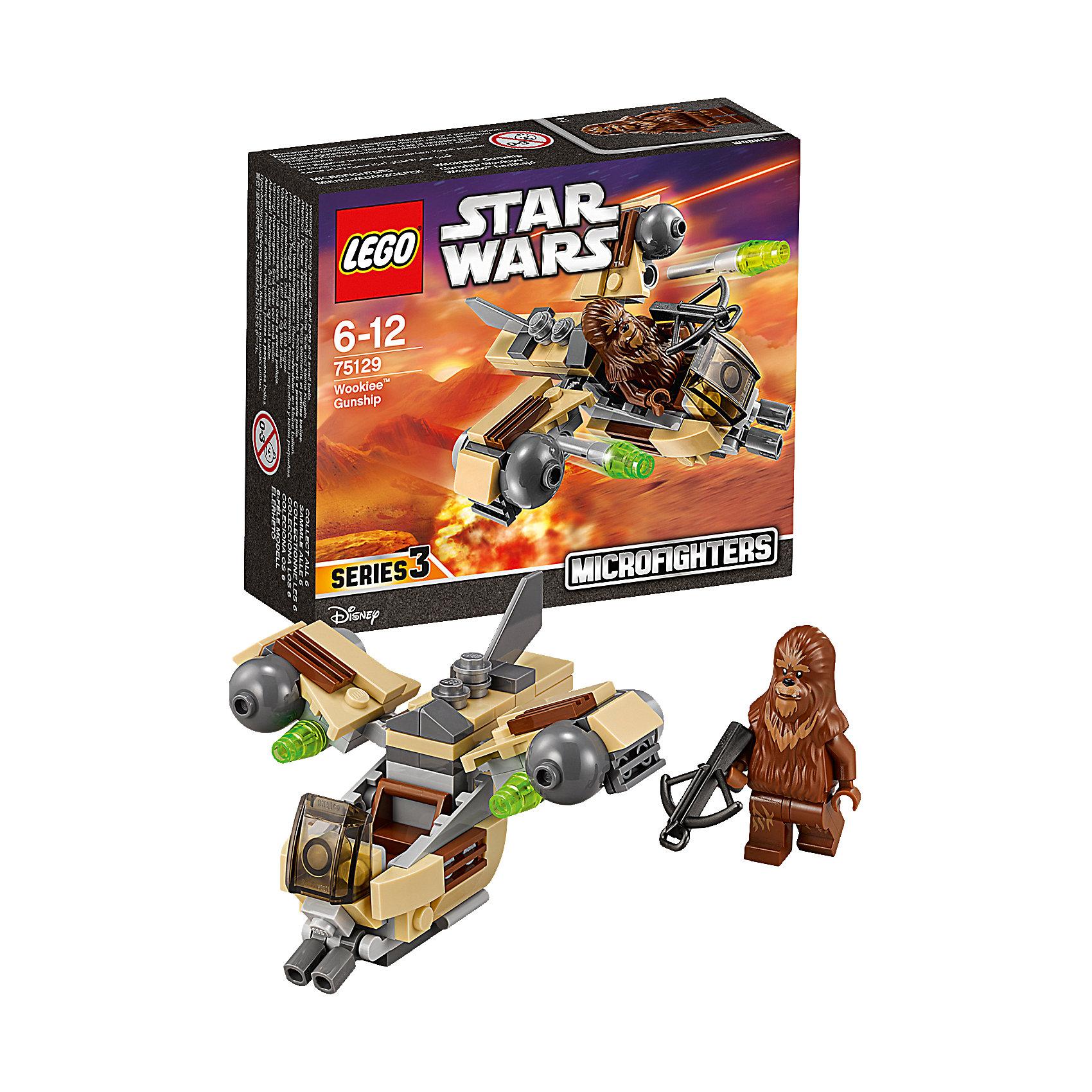 LEGO Star Wars 75129: Боевой корабль Вуки™Игрушки<br>LEGO Star Wars (ЛЕГО Звездные войны) 75129: Боевой корабль Вуки станет прекрасным подарком для всех поклонников знаменитой киносаги. Новый истребитель из серии микрофайтеров Lego Star Wars прекрасно детализирован и очень похож на корабль повстанцев из мультсериала Звездные Войны: Повстанцы. Спереди на носу корабля размещается кабина пилота с сиденьем и подвижные декоративные пушки, сзади прикреплен хвостовой плавник. В крылья корабля встроены мощные двигатели, под которыми находятся пусковые установки со стреляющими снарядами-ракетками. Также, на крыльях и корпусе расположены решетки радиаторов. В комплект входит одна минифурка пилота - Вуки, вооруженного арбалетом.  <br><br>Все конструкторы серии ЛЕГО Звездные войны созданы по мотивам знаменитой киносаги Звездные войны и воспроизводят самые популярные сюжеты и эпизоды фильма. В наборах представлены все основные средства вооружения и боевые единицы, задействованные в фильме.<br>Фантастические истребители, машины, роботы, оружие, фигурки персонажей выполнены очень реалистично, с высокой степенью детализации.<br><br>Дополнительная информация:<br><br>- Игра с конструктором LEGO (ЛЕГО) развивает мелкую моторику ребенка, фантазию и воображение, учит его усидчивости и внимательности.<br>- Количество деталей: 84.<br>- Количество минифигур: 1.<br>- Серия: LEGO Star Wars (ЛЕГО Звездные войны).<br>- Материал: пластик.<br>- Размер упаковки: 14 х 4,5 х 12 см.<br>- Вес: 0,1 кг.<br><br>Конструктор LEGO Star Wars (ЛЕГО Звездные войны) 75129: Боевой корабль Вуки можно купить в нашем интернет-магазине.<br><br>Ширина мм: 143<br>Глубина мм: 121<br>Высота мм: 48<br>Вес г: 90<br>Возраст от месяцев: 72<br>Возраст до месяцев: 144<br>Пол: Мужской<br>Возраст: Детский<br>SKU: 4259014