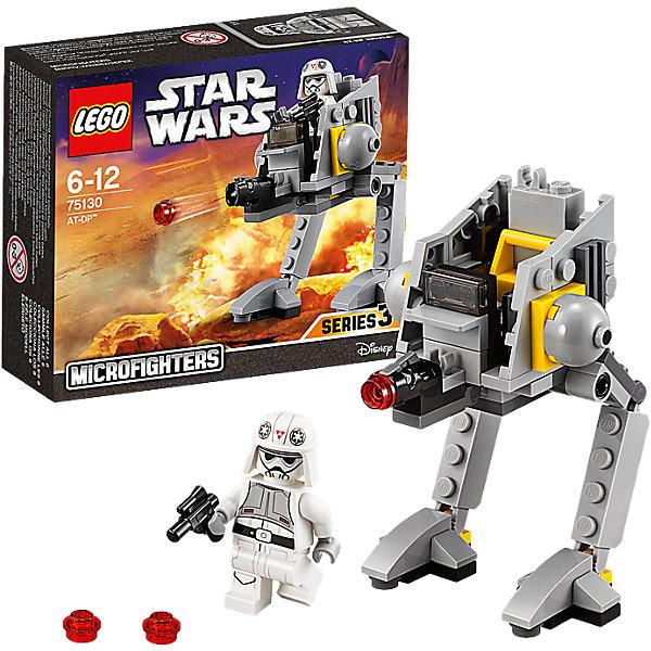 LEGO Star Wars 75130: AT-DP™Игрушки<br>LEGO Star Wars (ЛЕГО Звездные войны) 75130: AT-DP станет прекрасным подарком для всех поклонников знаменитой киносаги. Двуногие шагоходы широко использовались силами Империи для борьбы с повстанческой армией, они были прекрасно приспособлены к условиям и ландшафтам разных планет, что значительно облегчало проведение наземных операций. Модель ЛЕГО очень похожа на свой знаменитый прототип. Она вся состоит из серых деталей различного оттенка с небольшими вкраплениями желтых элементов. Оборонительная платформа с крепкой броней оснащена подвижными ногами, которые сгибаются в нескольких местах. На корпусе расположена пушка, стреляющая маленькими снарядами при нажатии на рычаг. В кабине имеется место для минифигурки снежного штурмовика, вооруженного бластером (входит в комплект).<br><br>Все конструкторы серии ЛЕГО Звездные войны созданы по мотивам знаменитой киносаги Звездные войны и воспроизводят самые популярные сюжеты и эпизоды фильма. В наборах представлены все основные средства вооружения и боевые единицы, задействованные в фильме.<br>Фантастические истребители, машины, роботы, оружие, фигурки персонажей выполнены очень реалистично, с высокой степенью детализации.<br><br>Дополнительная информация:<br><br>- Игра с конструктором LEGO (ЛЕГО) развивает мелкую моторику ребенка, фантазию и воображение, учит его усидчивости и внимательности.<br>- Количество деталей: 76.<br>- Количество минифигур: 1.<br>- Серия: LEGO Star Wars (ЛЕГО Звездные войны).<br>- Материал: пластик.<br>- Размер упаковки: 14 х 5 х 12 см.<br>- Вес: 0,1 кг.<br><br>Конструктор LEGO Star Wars (ЛЕГО Звездные войны) 75130: AT-DP можно купить в нашем интернет-магазине.<br>Ширина мм: 142; Глубина мм: 119; Высота мм: 45; Вес г: 80; Возраст от месяцев: 72; Возраст до месяцев: 144; Пол: Мужской; Возраст: Детский; SKU: 4259015;