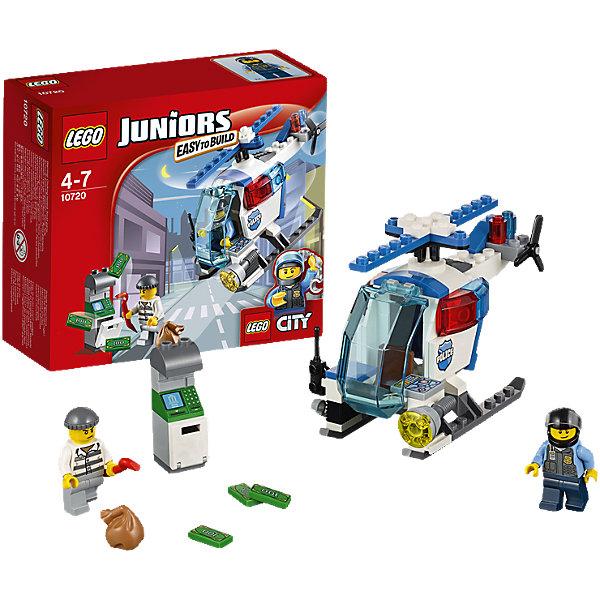 LEGO Juniors 10720: Погоня на полицейском вертолётеПластмассовые конструкторы<br>Патрулируй небо над городом на полицейском вертолете LEGO Juniors! Найди вора, который пытается ограбить банкомат, а затем лети вниз и поймай его с поличным. Помогай полиции служить и защищать. LEGO Juniors дарит отличный опыт конструирования!<br><br>LEGO Juniors (ЛЕГО Джуниорс) - серия конструкторов для детей от 4 до 7 лет. Размер кубиков и деталей соответствует обычным размерам, при этом наборы очень просты в сборке. Понятные инструкции позволяют детям быстро получить результат и приступить к игре. Конструкторы этой серии прекрасно детализированы, яркие, прочные, имеют множество различных сюжетов - идеально подходят для реалистичных и познавательных игр.<br><br>Дополнительная информация:<br><br>- Конструкторы ЛЕГО развивают усидчивость, внимание, фантазию и мелкую моторику. <br>- Комплектация: 2 минифигурки, банкомат, вертолет, аксессуары.<br>- В комплекте 2 фигурки: полицейский, преступник.<br>- Количество деталей: 63 шт.<br>- Серия ЛЕГО Джуниорс (LEGO  Juniors ).<br>- Материал: пластик.<br>- Размер упаковки: 15х14х6 см.<br>- Вес: 0,139 кг.<br><br>Конструктор LEGO Juniors 10720: Погоня на полицейском вертолёте можно купить в нашем магазине.<br><br>Ширина мм: 162<br>Глубина мм: 142<br>Высота мм: 63<br>Вес г: 141<br>Возраст от месяцев: 48<br>Возраст до месяцев: 84<br>Пол: Мужской<br>Возраст: Детский<br>SKU: 4259016