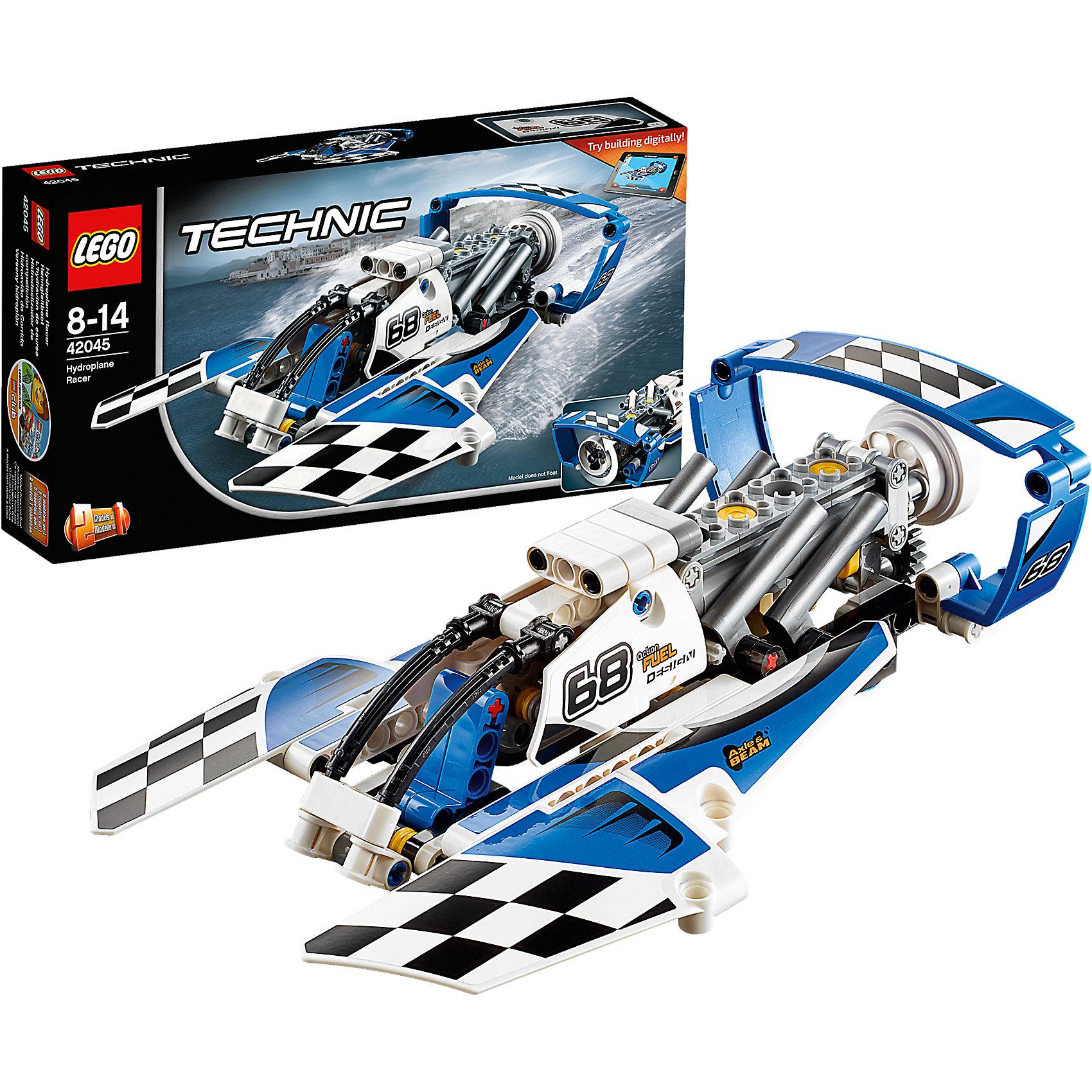 LEGO Technic 42045: Гоночный гидропланПластмассовые конструкторы<br>Характеристики товара:<br><br>• возраст: от 8 лет;<br>• материал: пластик;<br>• в комплекте: 180 деталей, наклейки, инструкция;<br>• размер упаковки: 26х14х5 см;<br>• вес упаковки: 285 гр.;<br>• страна производитель: Китай.<br><br>Конструктор Lego Technic «Гоночный гидроплан» позволит увлекательно провести время, собирая вместе все детали в модели. Из элементов конструктора можно собрать сразу 2 модели: гоночный гидроплан и гоночный катер. Каждая модель оснащена кабиной для капитана с открывающимися дверями. На катере и гидроплане расположен двигатель, приводящий в движение винт и поршни.<br><br>В наборе наклейки, с помощью которых украшается каждая модель. Для планшета и смартфона предусмотрена бесплатная 3D инструкция по сборке, которая поможет детям без труда собрать катер и гидроплан. С готовыми моделями мальчишки могут устроить невероятные заезды и захватывающие гонки. Сборка конструктора развивает у детей усидчивость, внимательность и логическое мышление.<br><br>Конструктор Lego Technic «Гоночный гидроплан» можно приобрести в нашем интернет-магазине.<br><br>Ширина мм: 263<br>Глубина мм: 142<br>Высота мм: 50<br>Вес г: 287<br>Возраст от месяцев: 96<br>Возраст до месяцев: 2147483647<br>Пол: Мужской<br>Возраст: Детский<br>SKU: 4259018