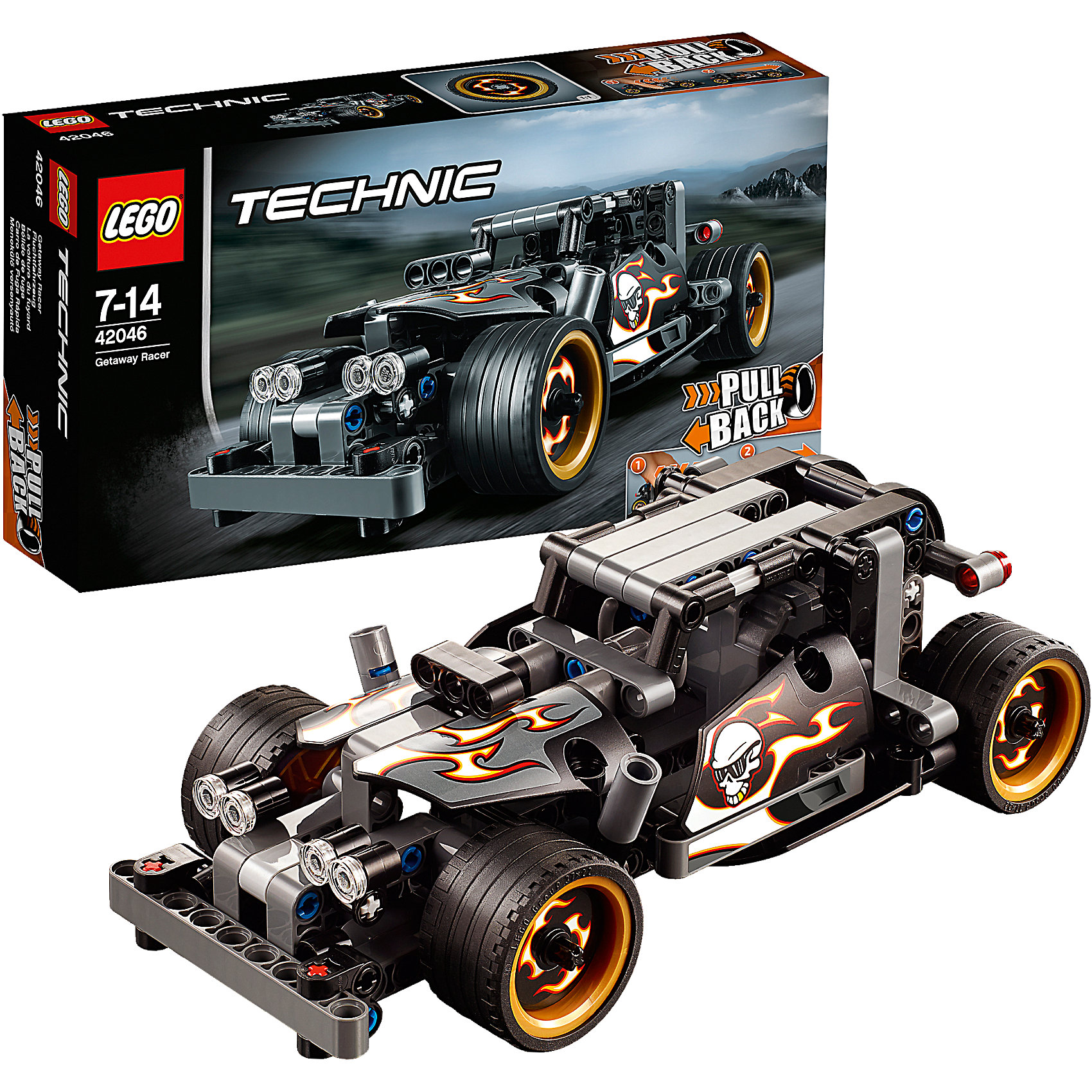 LEGO Technic 42046: Гоночный автомобиль для побегаПластмассовые конструкторы<br>Прокатись по улицам на этом крутом мощном автомобиле, оснащённом массивными экстра-широкими дисками с низкопрофильными шинами, огромными вертикальными выхлопными трубами, тяжелым передним бампером. Машина раскрашена в темно-серый и черный цвета с крутыми наклейками пламени, придающими модели грозный вид. Активируй мощный инерционный двигатель для быстрого старта!<br><br>LEGO Technic  (Лего Техник) - серия конструкторов, позволяющая собрать функциональные, подробные, прекрасно детализированные, имеющие множество подвижных узлов, транспортные средства. В этой серии найдется техника на любой вкус: тракторы и экскаваторы, внедорожники и квадроциклы, самосвалы и гоночные автомобили. Даже самые простые из конструкторов lego technic дают вашему ребенку представление о том, как устроены машины, помогают развить моторику, мышление и умение работать по инструкции. <br><br>Дополнительная информация:<br><br>- Конструкторы ЛЕГО развивают усидчивость, внимание, фантазию и мелкую моторику. <br>- Комплектация: автомобиль.<br>- Количество деталей: 170.<br>- Серия LEGO Technic  (Лего Техник).<br>- Материал: пластик.<br>- Размер упаковки: 26х6х14 см.<br>- Вес: 0.3 кг.<br><br>LEGO Technic 42046: Гоночный автомобиль для побега можно купить в нашем магазине.<br><br>Ширина мм: 265<br>Глубина мм: 144<br>Высота мм: 63<br>Вес г: 301<br>Возраст от месяцев: 84<br>Возраст до месяцев: 168<br>Пол: Мужской<br>Возраст: Детский<br>SKU: 4259019