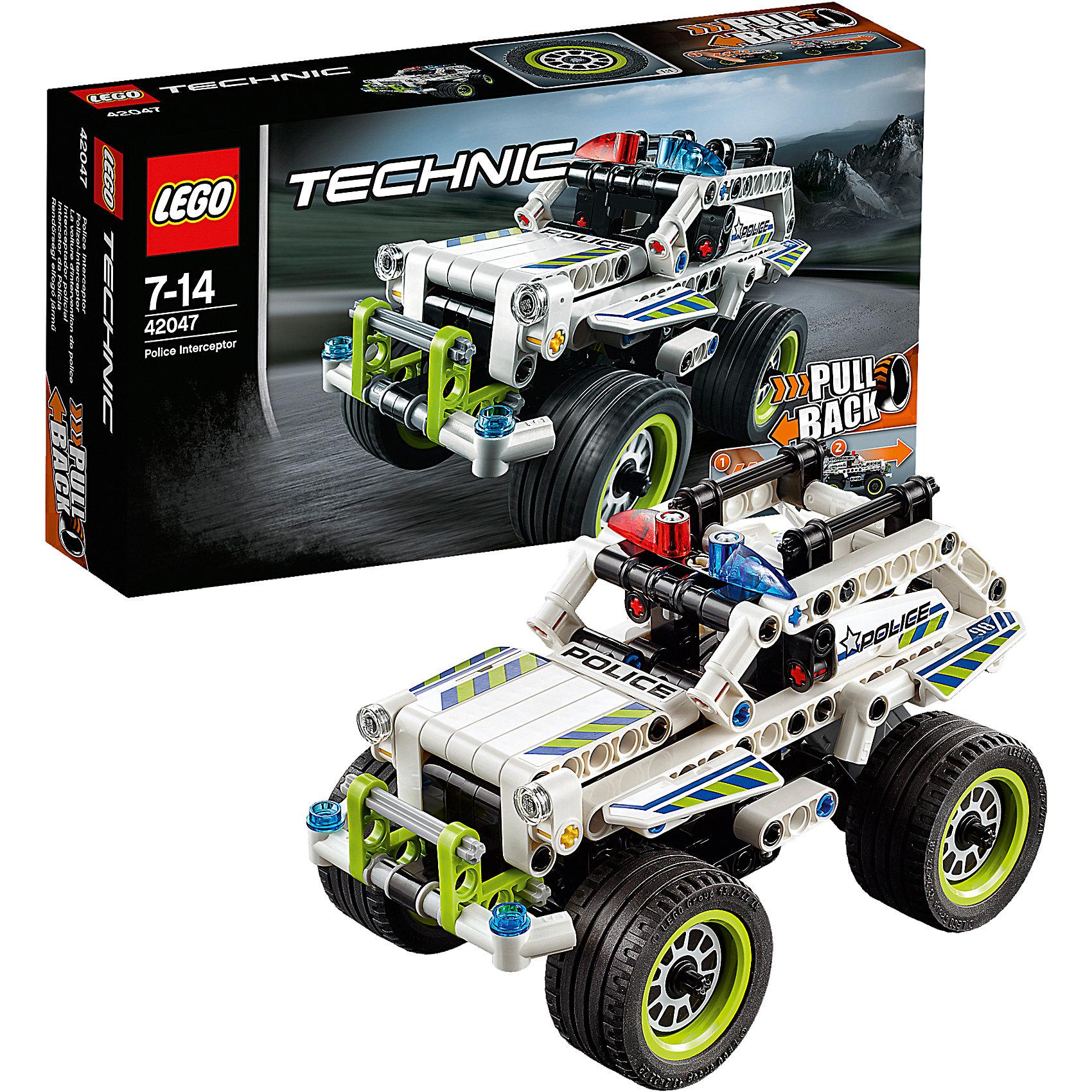 LEGO Technic 42047: Полицейский патрульУскоряйся с головокружительной скоростью на этой удивительной модели, имеющей огромные экстра-широкие колесные диски с низкопрофильными шинами, красные и синие проблесковые полицейские маячки и тяжелый дополнительный бампер. Активируй мощный инерционный двигатель, чтобы запустить эту полноприводную полицейскую машину! Объедини с моделью Гоночный автомобиль для побега (42046) с инерционным двигателем, чтобы придумать ещё больше приключений на огромной скорости!<br><br>LEGO Technic  (Лего Техник) - серия конструкторов, позволяющая собрать функциональные, подробные, прекрасно детализированные, имеющие множество подвижных узлов, транспортные средства. В этой серии найдется техника на любой вкус: тракторы и экскаваторы, внедорожники и квадроциклы, самосвалы и гоночные автомобили. Даже самые простые из конструкторов lego technic дают вашему ребенку представление о том, как устроены машины, помогают развить моторику, мышление и умение работать по инструкции. <br><br>Дополнительная информация:<br><br>- Конструкторы ЛЕГО развивают усидчивость, внимание, фантазию и мелкую моторику. <br>- Комплектация: автомобиль.<br>- Количество деталей: 185<br>- Серия LEGO Technic  (Лего Техник).<br>- Материал: пластик.<br>- Размер упаковки: 26х6х14 см.<br>- Вес: 0.3 кг.<br><br>LEGO Technic 42047: Полицейский патруль можно купить в нашем магазине.<br><br>Ширина мм: 265<br>Глубина мм: 142<br>Высота мм: 63<br>Вес г: 323<br>Возраст от месяцев: 84<br>Возраст до месяцев: 168<br>Пол: Мужской<br>Возраст: Детский<br>SKU: 4259020