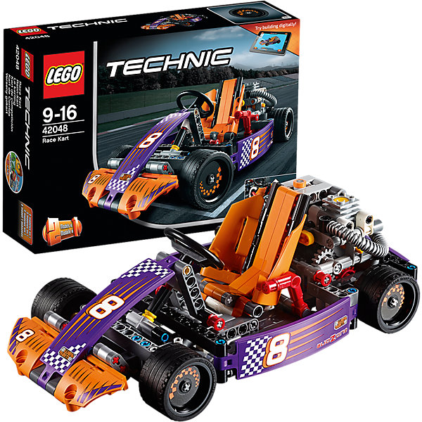 LEGO Technic 42048: Гоночный картКонструкторы Лего<br>Мчись по кругу на этой суперкрутой копии реального гоночного карта, оснащённой детализированным двигателем с движущимися поршнями, топливным баком и огромными выхлопными трубами. Наклони обтекаемое оранжевое кресло гонщика, чтобы открыть работающую трансмиссию. Затем забирайся в кабину и проверь на прочность работающий руль, двухскоростную коробку передач и классные педали! Эта ультра-скоростная машина имеет гладкие шины и крутые гоночные наклейки! Перестрой её в мощный автомобиль для трека. Доступно интерактивное интернет-приложение с цифровыми 3D-инструкциями по сборке LEGO для обеих моделей.<br><br>LEGO Technic  (Лего Техник) - серия конструкторов, позволяющая собрать функциональные, подробные, прекрасно детализированные, имеющие множество подвижных узлов, транспортные средства. В этой серии найдется техника на любой вкус: тракторы и экскаваторы, внедорожники и квадроциклы, самосвалы и гоночные автомобили. Даже самые простые из конструкторов lego technic дают вашему ребенку представление о том, как устроены машины, помогают развить моторику, мышление и умение работать по инструкции. <br><br>Дополнительная информация:<br><br>- Конструкторы ЛЕГО развивают усидчивость, внимание, фантазию и мелкую моторику. <br>- Комплектация: автомобиль.<br>- Количество деталей: 345.<br>- Серия LEGO Technic  (Лего Техник).<br>- Материал: пластик.<br>- Размер упаковки: 26х7х19 см.<br>- Вес: 0.52 кг.<br><br>LEGO Technic 42048: Гоночный карт можно купить в нашем магазине.<br><br>Ширина мм: 265<br>Глубина мм: 192<br>Высота мм: 76<br>Вес г: 557<br>Возраст от месяцев: 108<br>Возраст до месяцев: 192<br>Пол: Мужской<br>Возраст: Детский<br>SKU: 4259021