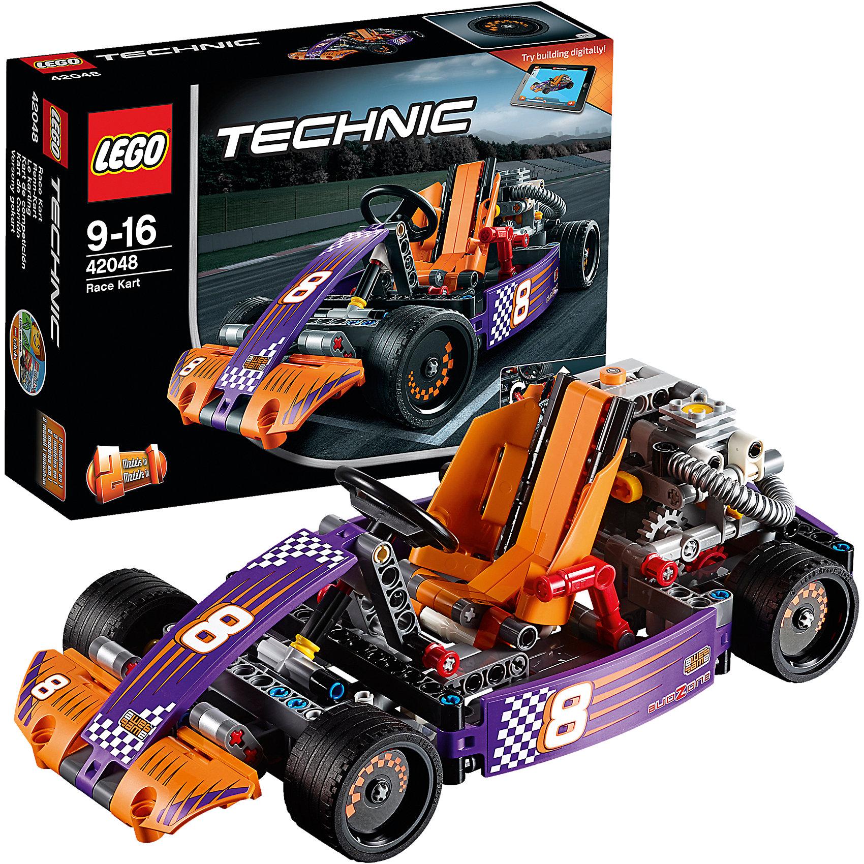 LEGO Technic 42048: Гоночный картПластмассовые конструкторы<br>Мчись по кругу на этой суперкрутой копии реального гоночного карта, оснащённой детализированным двигателем с движущимися поршнями, топливным баком и огромными выхлопными трубами. Наклони обтекаемое оранжевое кресло гонщика, чтобы открыть работающую трансмиссию. Затем забирайся в кабину и проверь на прочность работающий руль, двухскоростную коробку передач и классные педали! Эта ультра-скоростная машина имеет гладкие шины и крутые гоночные наклейки! Перестрой её в мощный автомобиль для трека. Доступно интерактивное интернет-приложение с цифровыми 3D-инструкциями по сборке LEGO для обеих моделей.<br><br>LEGO Technic  (Лего Техник) - серия конструкторов, позволяющая собрать функциональные, подробные, прекрасно детализированные, имеющие множество подвижных узлов, транспортные средства. В этой серии найдется техника на любой вкус: тракторы и экскаваторы, внедорожники и квадроциклы, самосвалы и гоночные автомобили. Даже самые простые из конструкторов lego technic дают вашему ребенку представление о том, как устроены машины, помогают развить моторику, мышление и умение работать по инструкции. <br><br>Дополнительная информация:<br><br>- Конструкторы ЛЕГО развивают усидчивость, внимание, фантазию и мелкую моторику. <br>- Комплектация: автомобиль.<br>- Количество деталей: 345.<br>- Серия LEGO Technic  (Лего Техник).<br>- Материал: пластик.<br>- Размер упаковки: 26х7х19 см.<br>- Вес: 0.52 кг.<br><br>LEGO Technic 42048: Гоночный карт можно купить в нашем магазине.<br><br>Ширина мм: 265<br>Глубина мм: 192<br>Высота мм: 76<br>Вес г: 557<br>Возраст от месяцев: 108<br>Возраст до месяцев: 192<br>Пол: Мужской<br>Возраст: Детский<br>SKU: 4259021