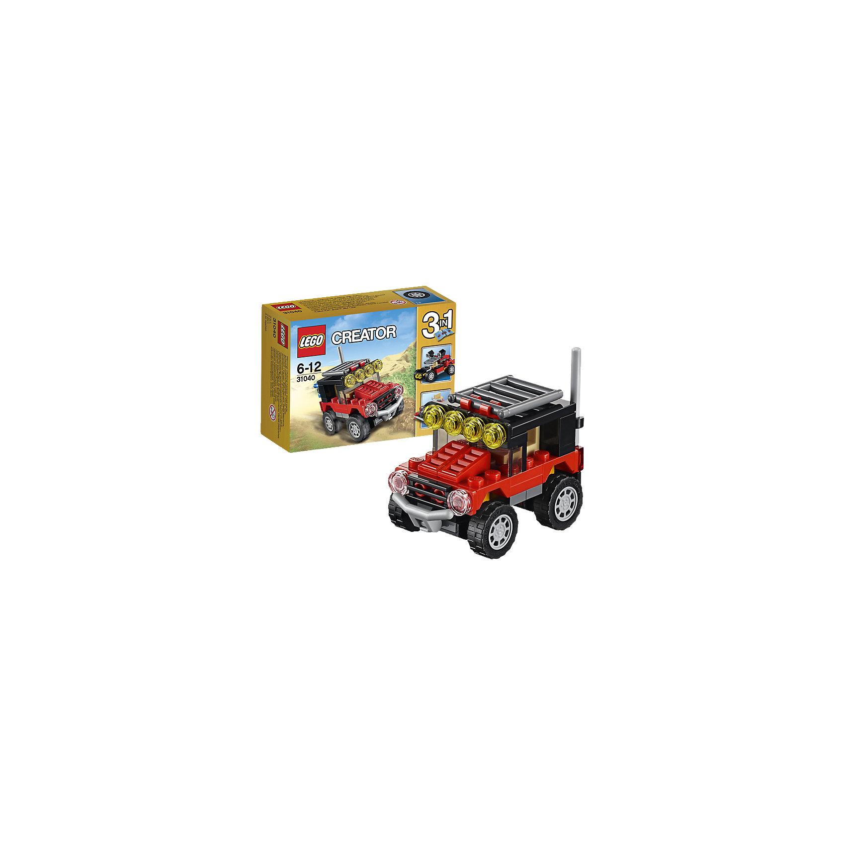 LEGO Creator 31040: Гонки в пустынеОтправляйся в увлекательное путешествие в пустыню на суровом внедорожнике, раскрашенном в крутые цвета: красный, черный и коричневый и оснащённом желтыми фонарями, антенной, дополнительным бампером и большими шинами с глубоким протектором. Забирайся в кабину и испытай этот мощный внедорожник! Когда будешь готов к очередной задаче, перестрой его в удивительный багги для езды по песку или в мощный полноприводный автомобиль.<br><br>LEGO Creator (Лего Криэйтор) - серия конструкторов Лего, с помощью которых можно создать самые невероятные и детализированные постройки, оригинальных героев, необыкновенные транспортные средства. Из деталей одного набора можно построить несколько разных моделей. С конструкторами Лего Криэйтор ребёнок сможет каждый день придумывать новые игровые сюжеты, создавать фантастический мир, воплощая фантазии в реальность.  <br><br>Дополнительная информация:<br><br>- Конструкторы ЛЕГО развивают усидчивость, внимание, фантазию и мелкую моторику. <br>- Комплектация: автомобиль.<br>- Количество деталей: 65.<br>- Серия LEGO Creator (Лего Криэйтор).<br>- Материал: пластик.<br>- Размер упаковки: 12х4,7х9 см.<br>- Вес: 0.075 кг.<br><br>LEGO Creator 31040: Гонки в пустыне можно купить в нашем магазине.<br><br>Ширина мм: 122<br>Глубина мм: 93<br>Высота мм: 48<br>Вес г: 68<br>Возраст от месяцев: 72<br>Возраст до месяцев: 144<br>Пол: Мужской<br>Возраст: Детский<br>SKU: 4259023