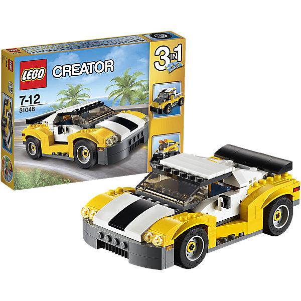 LEGO Creator 31046: КабриолетПластмассовые конструкторы<br>Выезжай на дорогу на удивительном спортивном автомобиле, имеющем спойлер, стильные диски с низкопрофильными шинами, открывающийся верх кузова и детализированный двигатель. Открой двери, садись за руль и наслаждайся скоростью, испытывая удивительные возможности этого кабриолета! Перестрой его в грузовик-пикап или погрузчик с бортовым поворотом.<br><br>LEGO Creator (Лего Криэйтор) - серия конструкторов Лего, с помощью которых можно создать самые невероятные и детализированные постройки, оригинальных героев, необыкновенные транспортные средства. Из деталей одного набора можно построить несколько разных моделей. С конструкторами Лего Криэйтор ребёнок сможет каждый день придумывать новые игровые сюжеты, создавать фантастический мир, воплощая фантазии в реальность.  <br><br>Дополнительная информация:<br><br>- Конструкторы ЛЕГО развивают усидчивость, внимание, фантазию и мелкую моторику. <br>- Комплектация: автомобиль.<br>- Количество деталей: 222.<br>- Серия LEGO Creator (Лего Криэйтор).<br>- Материал: пластик.<br>- Размер упаковки: 26х4,6х19 см.<br>- Вес: 0.37 кг.<br><br>LEGO Creator 31046: Кабриолет можно купить в нашем магазине.<br><br>Ширина мм: 265<br>Глубина мм: 190<br>Высота мм: 48<br>Вес г: 372<br>Возраст от месяцев: 84<br>Возраст до месяцев: 144<br>Пол: Мужской<br>Возраст: Детский<br>SKU: 4259025