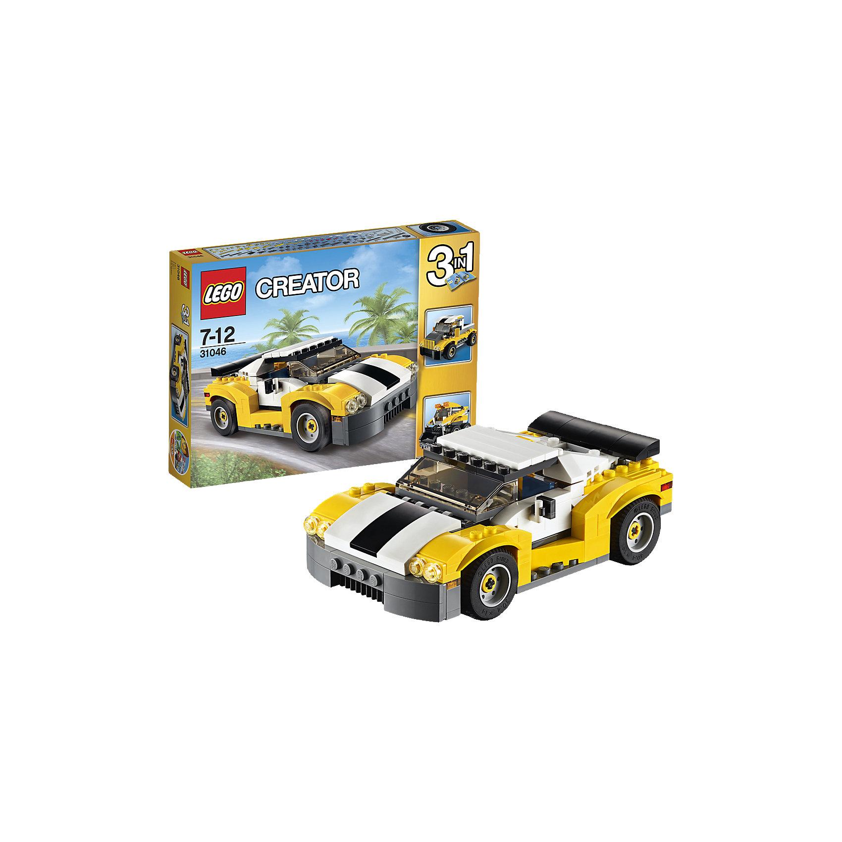 LEGO Creator 31046: КабриолетВыезжай на дорогу на удивительном спортивном автомобиле, имеющем спойлер, стильные диски с низкопрофильными шинами, открывающийся верх кузова и детализированный двигатель. Открой двери, садись за руль и наслаждайся скоростью, испытывая удивительные возможности этого кабриолета! Перестрой его в грузовик-пикап или погрузчик с бортовым поворотом.<br><br>LEGO Creator (Лего Криэйтор) - серия конструкторов Лего, с помощью которых можно создать самые невероятные и детализированные постройки, оригинальных героев, необыкновенные транспортные средства. Из деталей одного набора можно построить несколько разных моделей. С конструкторами Лего Криэйтор ребёнок сможет каждый день придумывать новые игровые сюжеты, создавать фантастический мир, воплощая фантазии в реальность.  <br><br>Дополнительная информация:<br><br>- Конструкторы ЛЕГО развивают усидчивость, внимание, фантазию и мелкую моторику. <br>- Комплектация: автомобиль.<br>- Количество деталей: 222.<br>- Серия LEGO Creator (Лего Криэйтор).<br>- Материал: пластик.<br>- Размер упаковки: 26х4,6х19 см.<br>- Вес: 0.37 кг.<br><br>LEGO Creator 31046: Кабриолет можно купить в нашем магазине.<br><br>Ширина мм: 267<br>Глубина мм: 193<br>Высота мм: 50<br>Вес г: 374<br>Возраст от месяцев: 84<br>Возраст до месяцев: 144<br>Пол: Мужской<br>Возраст: Детский<br>SKU: 4259025