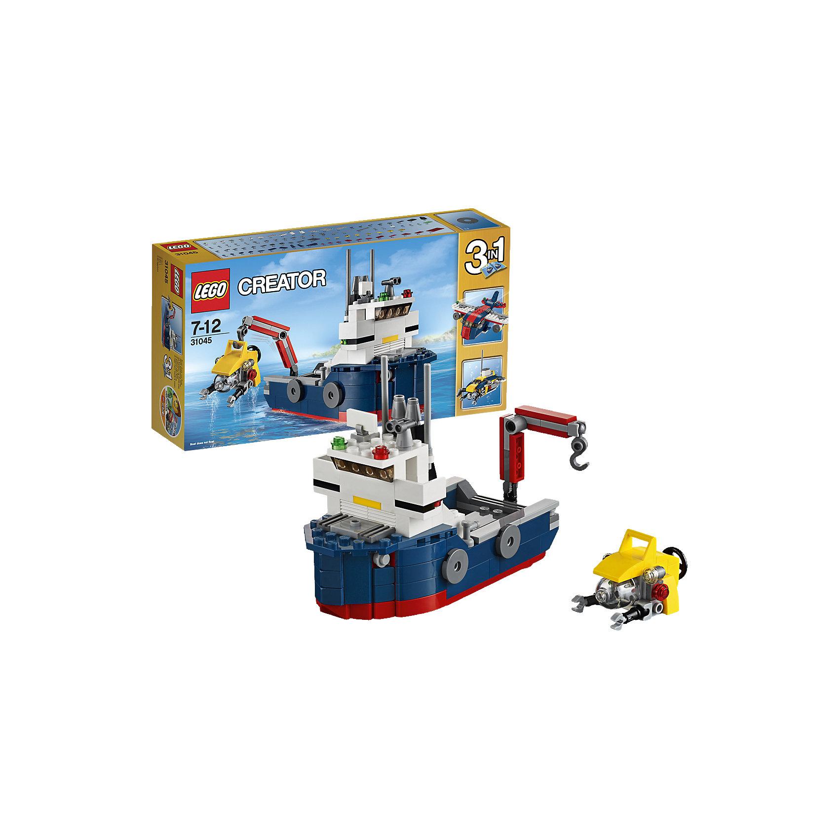 LEGO Creator 31045: Морская экспедицияПластмассовые конструкторы<br>Используй этот крутой набор, из которого можно собрать корабль, включающий капитанский мостик, навигационные огни, радар, антенну, трубу и желтую роботизированную подводную лодку, чтобы исследовать глубины океана. Управляй краном на корабле, чтобы спустить подводную лодку в море, а затем погружайся и проводи исследования! Когда будешь готов к переменам, собери грузовой самолет или большую подводную лодку.<br><br>LEGO Creator (Лего Криэйтор) - серия конструкторов Лего, с помощью которых можно создать самые невероятные и детализированные постройки, оригинальных героев, необыкновенные транспортные средства. Из деталей одного набора можно построить несколько разных моделей. С конструкторами Лего Криэйтор ребёнок сможет каждый день придумывать новые игровые сюжеты, создавать фантастический мир, воплощая фантазии в реальность.  <br><br>Дополнительная информация:<br><br>- Конструкторы ЛЕГО развивают усидчивость, внимание, фантазию и мелкую моторику. <br>- Комплектация: корабль.<br>- Количество деталей: 213.<br>- Серия LEGO Creator (Лего Криэйтор).<br>- Материал: пластик.<br>- Размер упаковки: 26х6х14 см.<br>- Вес: 0.315 кг.<br><br>LEGO Creator 31045: Морская экспедиция можно купить в нашем магазине.<br><br>Ширина мм: 267<br>Глубина мм: 142<br>Высота мм: 63<br>Вес г: 312<br>Возраст от месяцев: 84<br>Возраст до месяцев: 144<br>Пол: Мужской<br>Возраст: Детский<br>SKU: 4259026
