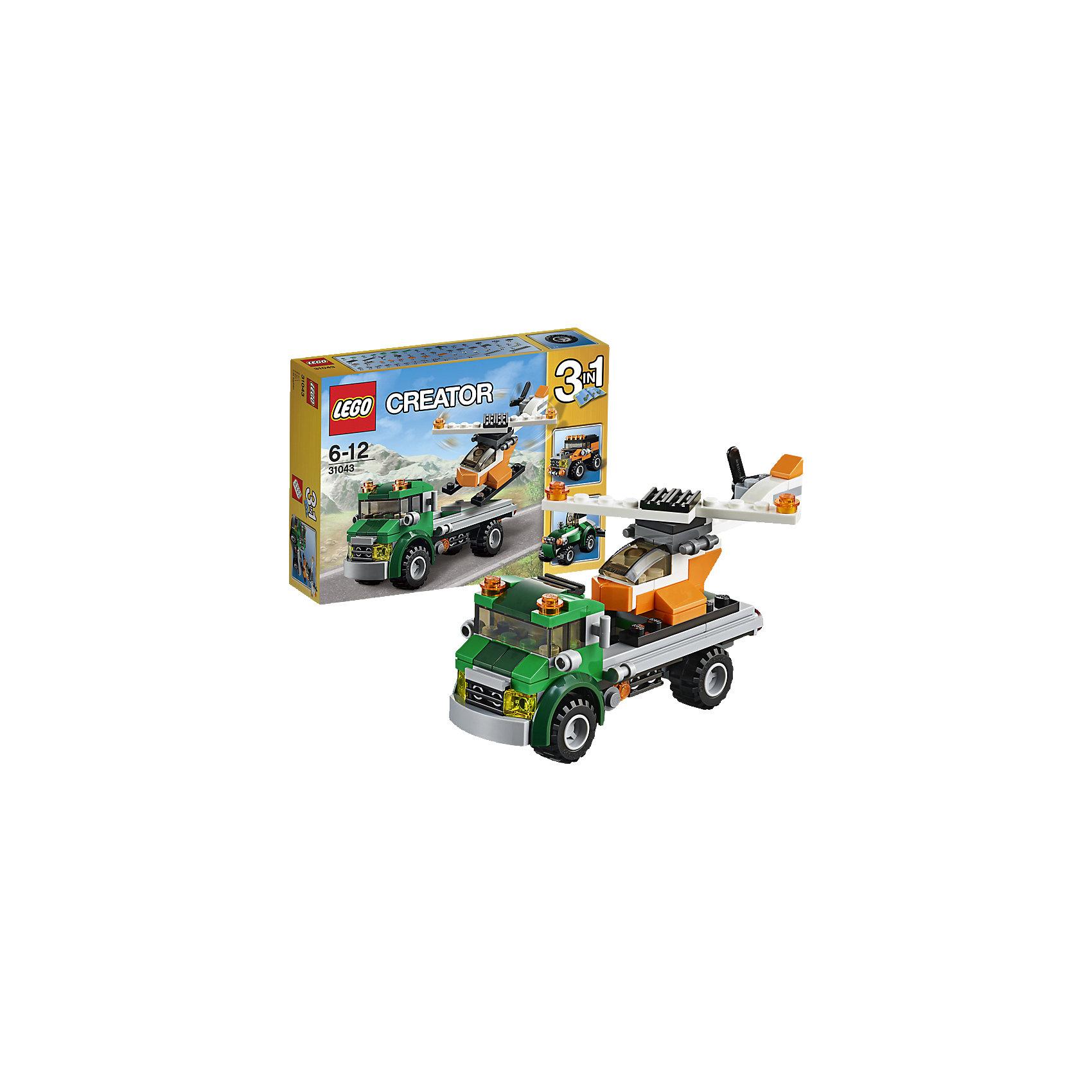 LEGO Creator 31043: Перевозчик вертолетаПридумай весёлую игру с этим удивительным набором, в который входит мощный эвакуатор, имеющий 2 оранжевых предупредительных маячка и шины с глубоким протектором, а также крутой вертолет с вращающимися винтами. Загружай вертолет и отправляйся на аэродром! Перестрой его в прочный трактор или надежный внедорожник.<br><br>LEGO Creator (Лего Криэйтор) - серия конструкторов Лего, с помощью которых можно создать самые невероятные и детализированные постройки, оригинальных героев, необыкновенные транспортные средства. Из деталей одного набора можно построить несколько разных моделей. С конструкторами Лего Криэйтор ребёнок сможет каждый день придумывать новые игровые сюжеты, создавать фантастический мир, воплощая фантазии в реальность.  <br><br>Дополнительная информация:<br><br>- Конструкторы ЛЕГО развивают усидчивость, внимание, фантазию и мелкую моторику. <br>- Комплектация: самолет.<br>- Количество деталей: 100.<br>- Серия LEGO Creator (Лего Криэйтор).<br>- Материал: пластик.<br>- Размер упаковки: 19х4,6х14 см.<br>- Вес: 0.18  кг.<br><br>LEGO Creator 31043: Перевозчик вертолета можно купить в нашем магазине.<br><br>Ширина мм: 193<br>Глубина мм: 142<br>Высота мм: 48<br>Вес г: 171<br>Возраст от месяцев: 72<br>Возраст до месяцев: 144<br>Пол: Мужской<br>Возраст: Детский<br>SKU: 4259027