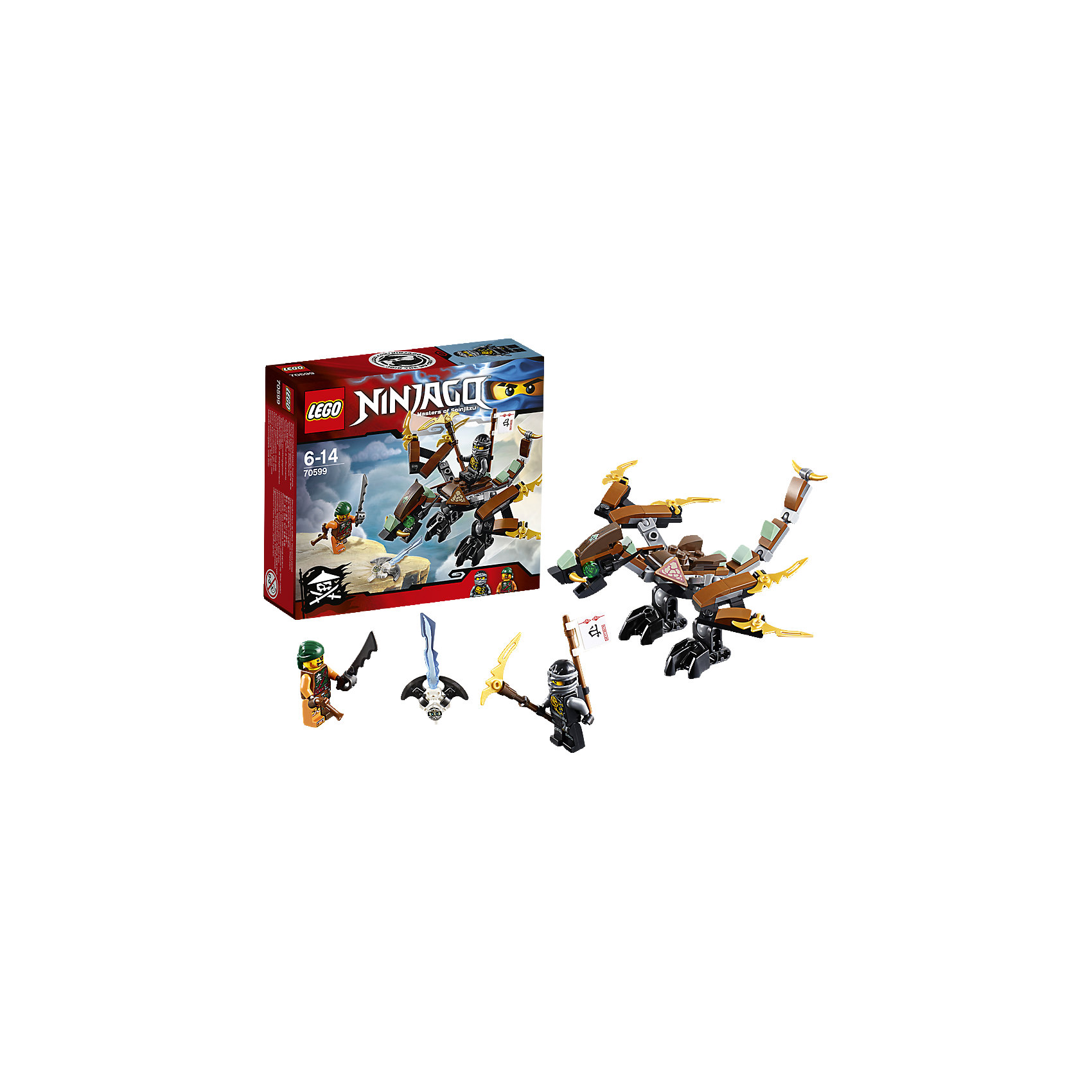 LEGO NINJAGO 70599: Дракон КоулаУстанови шею, крылья и ноги дракона в нужное положение и лети в атаку. Победи небесного пирата и освободи Зейна, заточённого в особый Джинн-клинок!<br><br>LEGO Ninjago (ЛЕГО Ниндзяго) - серия детских конструкторов ЛЕГО, рассказывающая о приключениях четырех отважных ниндзя и их сенсея, о противостоянии злу и победе добра. Наборы серии можно комбинировать между собой, давая безграничные просторы для фантазии и придумывая свои новые истории. <br> <br><br>Дополнительная информация:<br><br>- Конструкторы ЛЕГО развивают усидчивость, внимание, фантазию и мелкую моторику. <br>- Комплектация: 2 минифигурки, аксессуары, дракон.<br>- В комплекте 2 минифигурки.<br>- Количество деталей: 89.<br>- Серия ЛЕГО Ниндзяго (LEGO Ninjago)<br>- Материал: пластик.<br>- Размер упаковки: 15,7х4,5х14 см.<br>- Вес: 0.11 кг.<br><br>Конструктор LEGO Ninjago 70599: Дракон Коула можно купить в нашем магазине.<br><br>Ширина мм: 160<br>Глубина мм: 142<br>Высота мм: 48<br>Вес г: 108<br>Возраст от месяцев: 72<br>Возраст до месяцев: 168<br>Пол: Мужской<br>Возраст: Детский<br>SKU: 4259037