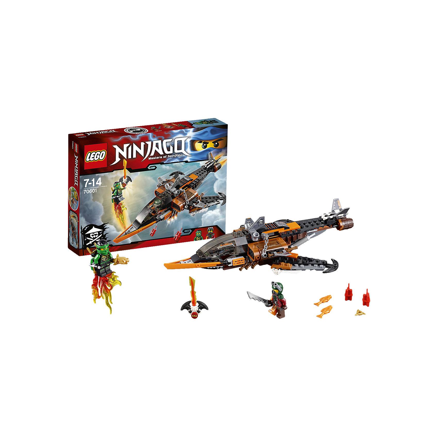 LEGO NINJAGO 70601: Небесная акулаПластмассовые конструкторы<br>Отправь беспилотник на разведку к этому удивительному самолёту, оснащённому целым набором опасных клинков, пушек и всяких классных пиратских штучек. Но остерегайся подвоха — Небесная акула может сбросить динамит или тухлую рыбу в любой момент! Затем преврати беспилотник в реактивный ранец для Ллойда и отправь героя-ниндзя в бой. Сбей Небесную акулу и сражайся, чтобы освободить Кая, заточённого в Джинн-клинок!<br><br>LEGO Ninjago (ЛЕГО Ниндзяго) - серия детских конструкторов ЛЕГО, рассказывающая о приключениях четырех отважных ниндзя и их сенсея, о противостоянии злу и победе добра. Наборы серии можно комбинировать между собой, давая безграничные просторы для фантазии и придумывая свои новые истории. <br> <br>Дополнительная информация:<br><br>- Конструкторы ЛЕГО развивают усидчивость, внимание, фантазию и мелкую моторику. <br>- Комплектация: 2 минифигурки, аксессуары, небесная акула.<br>- В комплекте 2 минифигурки.<br>- Количество деталей: 221.<br>- Серия ЛЕГО Ниндзяго (LEGO Ninjago)<br>- Материал: пластик.<br>- Размер упаковки: 26х4,6х19 см.<br>- Вес: 0.305 кг.<br><br>Конструктор LEGO Ninjago 70601: Небесная акула можно купить в нашем магазине.<br><br>Ширина мм: 264<br>Глубина мм: 192<br>Высота мм: 50<br>Вес г: 317<br>Возраст от месяцев: 84<br>Возраст до месяцев: 168<br>Пол: Мужской<br>Возраст: Детский<br>SKU: 4259039