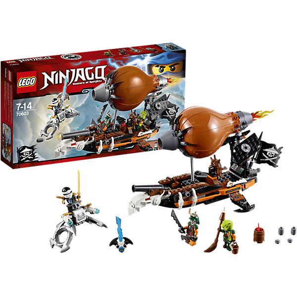 LEGO NINJAGO 70603: Дирижабль-штурмовикПластмассовые конструкторы<br>Уклоняйся от выстрелов из мощных пушек дирижабля и динамита, сброшенного через люк. Стреляй из ледовых шутеров флайера и поднимайся на дирижабль. Встреться лицом к лицу с Дублоном и Кланси, чтобы захватить Джинн-клинок и освободить своего друга-ниндзя Джея!<br><br>LEGO Ninjago (ЛЕГО Ниндзяго) - серия детских конструкторов ЛЕГО, рассказывающая о приключениях четырех отважных ниндзя и их сенсея, о противостоянии злу и победе добра. Наборы серии можно комбинировать между собой, давая безграничные просторы для фантазии и придумывая свои новые истории. <br> <br>Дополнительная информация:<br><br>- Конструкторы ЛЕГО развивают усидчивость, внимание, фантазию и мелкую моторику. <br>- Комплектация: 3 минифигурки, дирижабль, флайер. <br>- В комплекте 3 минифигурки.<br>- Количество деталей: 294.<br>- Серия ЛЕГО Ниндзяго (LEGO Ninjago)<br>- Материал: пластик.<br>- Размер упаковки: 35,4х6х19 см.<br>- Вес: 0.455 кг.<br><br>Конструктор LEGO Ninjago 70603: Дирижабль-штурмовик можно купить в нашем магазине.<br><br>Ширина мм: 355<br>Глубина мм: 192<br>Высота мм: 68<br>Вес г: 465<br>Возраст от месяцев: 84<br>Возраст до месяцев: 168<br>Пол: Мужской<br>Возраст: Детский<br>SKU: 4259041