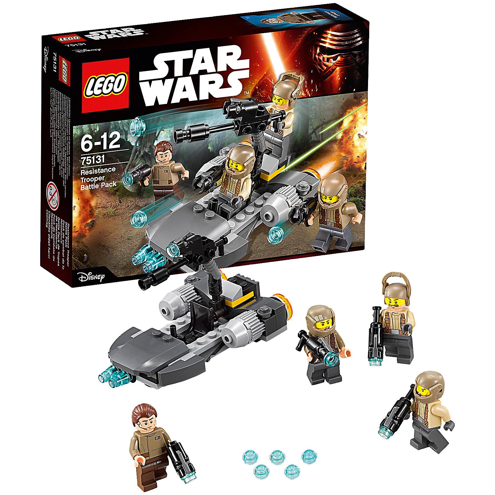LEGO Star Wars 75131: Боевой набор СопротивленияИгрушки<br>LEGO Star Wars (ЛЕГО Звездные войны) 75131: Confidential Battle pack Episode 7 Heroe станет прекрасным подарком для всех поклонников знаменитой киносаги. Воссоздай захватывающие сцены из 7 эпизода Звездные Войны. Пробуждение Силы и помоги солдатам Сопротивления приготовиться к битве с силами Первого Ордена! Модель ЛЕГО очень похожа на свой прототип и прекрасно детализирована. В середине спидера закреплена мощная пушка, которая может поворачиваться в разные стороны и менять угол наклона. У этого орудия повстанцев необычная конструкция - на большое дуло закреплено дуло поменьше. Чтобы выстрелить, зарядите орудие небольшим снарядом и нажмите на крючок. Сзади у спидера расположены два мощных двигатели. В кабине предусмотрены место для пилота и для стрелка рядом с пушкой. В комплект также входят четыре минифигурки - офицер и три солдата Сопротивления, вооруженные бластерными винтовками. <br><br>Все конструкторы серии ЛЕГО Звездные войны созданы по мотивам знаменитой киносаги Звездные войны и воспроизводят самые популярные сюжеты и эпизоды фильма. В наборах представлены все основные средства вооружения и боевые единицы, задействованные в фильме.<br>Фантастические истребители, машины, роботы, оружие, фигурки персонажей выполнены очень реалистично, с высокой степенью детализации.<br><br>Дополнительная информация:<br><br>- Игра с конструктором LEGO (ЛЕГО) развивает мелкую моторику ребенка, фантазию и воображение, учит его усидчивости и внимательности.<br>- Количество деталей: 112.<br>- Количество минифигур: 4.<br>- Серия: LEGO Star Wars (ЛЕГО Звездные войны).<br>- Материал: пластик.<br>- Размер упаковки: 19 х 4,5 х 14 см.<br>- Вес: 0,125 кг.<br><br>Конструктор LEGO Star Wars (ЛЕГО Звездные войны) 75131: Confidential Battle pack Episode 7 Heroe можно купить в нашем интернет-магазине.<br><br>Ширина мм: 195<br>Глубина мм: 142<br>Высота мм: 50<br>Вес г: 122<br>Возраст от месяцев: 72<br>Возраст до месяцев: 144<br>Пол: Муж