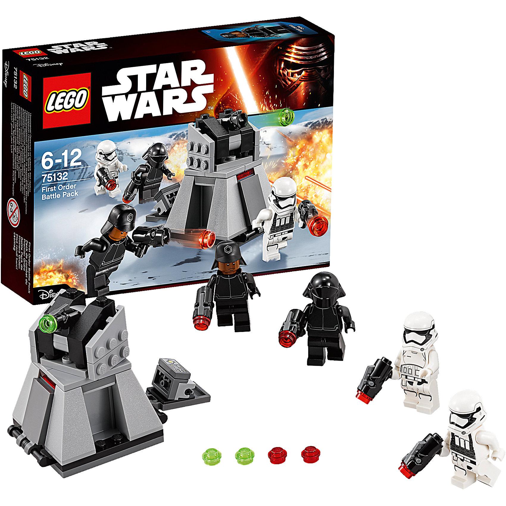 LEGO Star Wars 75132: Боевой набор Первого ОрденаИгрушки<br>LEGO Star Wars (ЛЕГО Звездные войны) 75132: Боевой набор первого ордена станет прекрасным подарком для всех поклонников знаменитой киносаги. Воссоздай захватывающие сцены из 7 эпизода Звездные Войны. Пробуждение Силы и устрой грандиозное сражение между силами Первого Ордена и бойцами Сопротивления. В комплекте Вы найдете все необходимые детали для сборки мощного турболазера - эффективного средства, которое часто использовал Первый Орден для борьбы с вражеской пехотой. Модель напоминает трапециевидную платформу и состоит из серых и черных деталей. На верхней части платформы расположена вращающаяся башня с пушкой, ведущей обстрел  не только наземной техники, но и низколетящих истребителей Сопротивления. У основания имеются отсеки, которые открываются, предоставляя доступ к боеприпасам и панели управления турболазером. В комплект входят четыре минифигурки солдат Первого Ордена с оружием. <br><br>Все конструкторы серии ЛЕГО Звездные войны созданы по мотивам знаменитой киносаги Звездные войны и воспроизводят самые популярные сюжеты и эпизоды фильма. В наборах представлены все основные средства вооружения и боевые единицы, задействованные в фильме.<br>Фантастические истребители, машины, роботы, оружие, фигурки персонажей выполнены очень реалистично, с высокой степенью детализации.<br><br>Дополнительная информация:<br><br>- Игра с конструктором LEGO (ЛЕГО) развивает мелкую моторику ребенка, фантазию и воображение, учит его усидчивости и внимательности.<br>- Количество деталей: 88.<br>- Количество минифигур: 4.<br>- Серия: LEGO Star Wars (ЛЕГО Звездные войны).<br>- Материал: пластик.<br>- Размер упаковки: 19,5 х 4,5 х 14 см.<br>- Вес: 0,125 кг.<br><br>Конструктор LEGO Star Wars (ЛЕГО Звездные войны) 75132: Confidential Battle pack Episode 7 Villa можно купить в нашем интернет-магазине.<br><br>Ширина мм: 191<br>Глубина мм: 139<br>Высота мм: 49<br>Вес г: 115<br>Возраст от месяцев: 72<br>Возраст до месяцев: 144<br>Пол