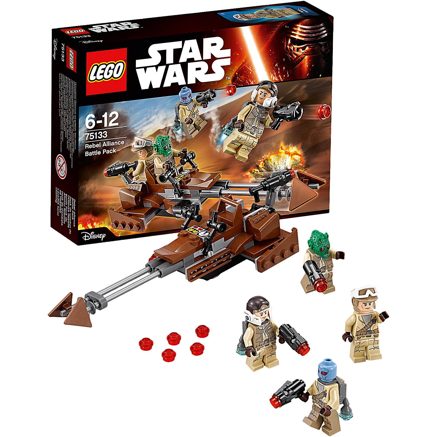 LEGO Star Wars 75133: Боевой набор ПовстанцевLEGO Star Wars (ЛЕГО Звездные войны) 75133: Боевой набор Повстанцев станет прекрасным подарком для всех поклонников знаменитой киносаги. Воссоздай захватывающие сцены из 7 эпизода Звездные Войны. Пробуждение Силы и устрой грандиозное сражение между силами Сопротивления и Первого Ордена! Вызови на помощь повстанцам скоростной спидер с командой из пилота и пулеметчика. Корпус спидера выполнен из коричневых и серых деталей, что делает его незаметным на фоне песчаных пейзажей планеты. Спереди расположены две длинные штанги с подвижными треугольными лопастями. Место пилота оснащено рычагами управления и приборной панелью. За креслом пилота размещается платформа для стрелка, который  защищает тыловые части спидера от имперских преследователей. Чтобы выстрелить из мощного лазерного пулемета нажмите на специальный рычаг в верхней части дула. В комплект также входят четыре минифурки повстанцев с оружием и реактивными ранцами.<br><br>Все конструкторы серии ЛЕГО Звездные войны созданы по мотивам знаменитой киносаги Звездные войны и воспроизводят самые популярные сюжеты и эпизоды фильма. В наборах представлены все основные средства вооружения и боевые единицы, задействованные в фильме.<br>Фантастические истребители, машины, роботы, оружие, фигурки персонажей выполнены очень реалистично, с высокой степенью детализации.<br><br>Дополнительная информация:<br><br>- Игра с конструктором LEGO (ЛЕГО) развивает мелкую моторику ребенка, фантазию и воображение, учит его усидчивости и внимательности.<br>- Количество деталей: 101.<br>- Количество минифигур: 4.<br>- Серия: LEGO Star Wars (ЛЕГО Звездные войны).<br>- Материал: пластик.<br>- Размер упаковки: 19 х 4,5 х 14 см.<br>- Вес: 0,125 кг.<br><br>Конструктор LEGO Star Wars (ЛЕГО Звездные войны) 75133: Боевой набор Повстанцев можно купить в нашем интернет-магазине.<br><br>Ширина мм: 193<br>Глубина мм: 144<br>Высота мм: 48<br>Вес г: 115<br>Возраст от месяцев: 72<br>Возраст до месяцев: 144<br>Пол: