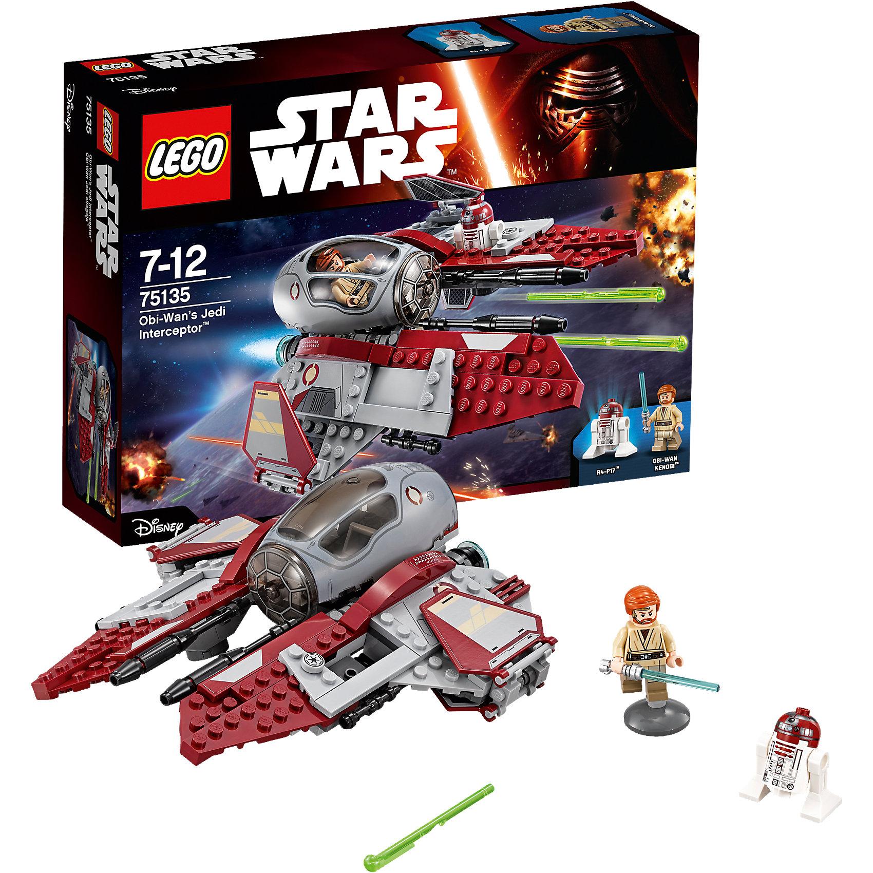 LEGO Star Wars 75135: Перехватчик джедаев Оби-Вана Кеноби™LEGO Star Wars (ЛЕГО Звездные войны) 75135: Перехватчик джедаев Оби-Вана Кеноби станет прекрасным подарком для всех поклонников знаменитой киносаги. В наборе Вы найдете детали для сборки уникального звездолета из нового фильма Звездные Войны. Пробуждение Силы. Перехватчик джедаев - небольшой, легкий и очень маневренный корабль типа звездолетов Эта-2, которые использовались силами Республики в конце Войн Клонов. Корпус перехватчика выполнен из серых и бордовых деталей. Кабина с прозрачным пластиковым стеклом оснащена креслом пилота и приборной панелью. На крыльях корабля расположены панели стабилизаторов, которые разворачиваются при полете. Мощное оружие перехватчика представляет из себя две ионные пушки и большие лазерные орудия с функцией стрельбы. В комплект также входят две минифигурки пилотов - Оби-Ван Кеноби и дроид R4-P17.<br> <br>Все конструкторы серии ЛЕГО Звездные войны созданы по мотивам знаменитой киносаги Звездные войны и воспроизводят самые популярные сюжеты и эпизоды фильма. В наборах представлены все основные средства вооружения и боевые единицы, задействованные в фильме.<br>Фантастические истребители, машины, роботы, оружие, фигурки персонажей выполнены очень реалистично, с высокой степенью детализации.<br><br>Дополнительная информация:<br><br>- Игра с конструктором LEGO (ЛЕГО) развивает мелкую моторику ребенка, фантазию и воображение, учит его усидчивости и внимательности.<br>- Количество деталей: 215.<br>- Количество минифигур: 2.<br>- Серия: LEGO Star Wars (ЛЕГО Звездные войны).<br>- Материал: пластик.<br>- Размер упаковки: 26,5 х 6 х 19 см.<br>- Вес: 0,33 кг.<br><br>Конструктор LEGO Star Wars (ЛЕГО Звездные войны) 75135: Перехватчик джедаев Оби-Вана Кеноби можно купить в нашем интернет-магазине.<br><br>Ширина мм: 265<br>Глубина мм: 193<br>Высота мм: 66<br>Вес г: 348<br>Возраст от месяцев: 84<br>Возраст до месяцев: 144<br>Пол: Мужской<br>Возраст: Детский<br>SKU: 4259055