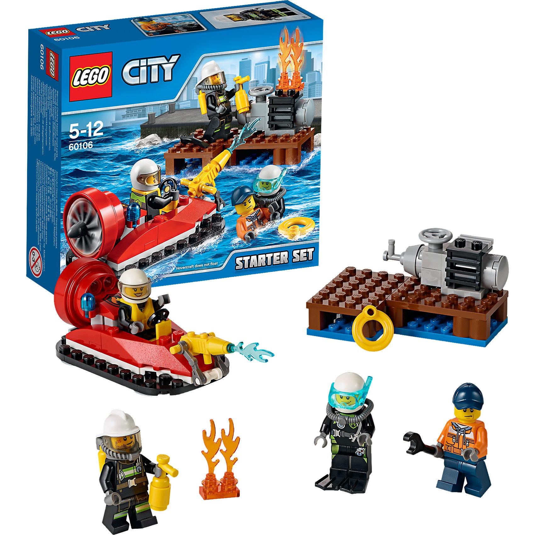 LEGO City 60106: Набор для начинающих «Пожарная охрана»LEGO City (ЛЕГО Сити) 60106: Набор для начинающих Пожарная охрана станет прекрасным подарком для маленьких любителей конструирования. На морском пирсе Лего Сити, где механик чинил двигатель, произошло возгорание. На помощь рабочему уже спешит специальный отряд отважных пожарных на лодке. Помоги им потушить огонь и спасти механика! Набор отличается простотой сборки и прекрасно подходит для начинающих. Из деталей конструктора Вы легко сможете собрать катер на воздушной подушке и деревянный пирс. Ярко-красный катер оснащен местом водителя с рулевым управлением, сзади располагаются сигнальные огни и мощный мотор с большим вращающимся пропеллером, спереди предусмотрено крепление для брандспойта. В комплект также входят различные игровые аксессуары (огнетушитель, спасательный круг, гаечный ключ и другие) и четыре минифигурки: рабочий, двое пожарных и аквалангист.<br><br>Серия конструкторов  LEGO City позволяет почувствовать себя инженером и архитектором, строителем или мэром города. Вы можете создавать свой город мечты, развивать городскую инфраструктуру, строить дороги и здания, управлять городским хозяйством и следить за порядком.<br>В игровых наборах с разнообразными сюжетами много интересных персонажей, оригинальных объектов и городской техники. Это уникальная возможность для ребенка развивать фантазию и логическое мышление, узнавать и осваивать разные профессии.<br><br>Дополнительная информация:<br><br>- Игра с конструктором LEGO (ЛЕГО) развивает мелкую моторику ребенка, фантазию и воображение, учит его усидчивости и внимательности.<br>- Количество деталей: 90.<br>- Количество минифигур: 4.<br>- Серия: LEGO City (ЛЕГО Сити).<br>- Материал: пластик.<br>- Размер собранного катера: 4 х 10 х 4 см.<br>- Размер упаковки: 16 х 4,5 х 14 см.<br>- Вес: 0,135 кг.<br><br>LEGO City (ЛЕГО Сити) 60106: Набор для начинающих Пожарная охрана можно купить в нашем интернет-магазине.<br><br>Ширина мм: 160<br>Глубина мм: 139<br>Высота