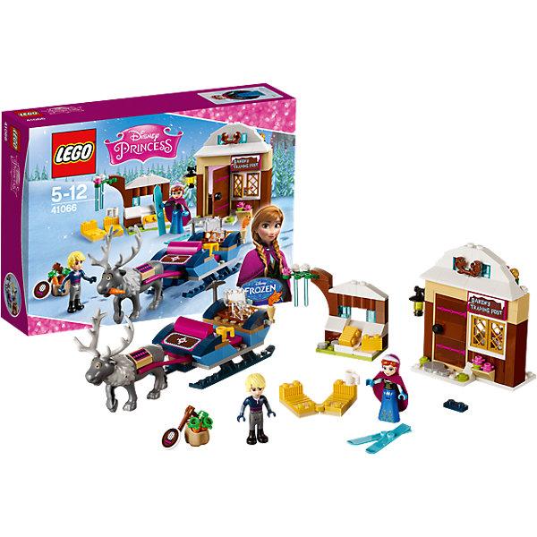 LEGO Disney Princesses 41066: Анна и Кристоф: прогулка на саняхКонструкторы Лего<br>LEGO Принцессы Дисней 41066: Анна и Кристоф: прогулка на санях непременно понравится всем юным поклонницам популярного диснеевского мультфильма Холодное сердце. Отправляйся вместе с Анной в опасное путешествие по заснеженным лесам, чтобы разыскать Эльзу и уговорить ее вернуть лето в Эренделл. Остановиться на ночлег можно в лавке торговца Окена, где продаются лыжи, горячий шоколад и флакончики с духами. Здесь вы познакомитесь с отважным юношей по имени Кристоф, который заготавливает лед для жителей королевства и развозит его на быстрых санях, запряженных оленем Свеном. Узнав об истории побега Эльзы, Кристоф готов оставить все свои дела и помочь Анне в поисках сестры. В комплект также входят две минифигурки Анны и Кристофа, фигурка оленя Свена и множество аксессуаров для реалистичной игры: ящик, мешки, морковки, сено, кружки, баночки, факел, фонарь и другие детали.<br><br>Серия конструкторов Lego Disney Princess создана специально для девочек и посвящена принцессам из мультфильмов Диснея. Наборы состоят из деталей необычных ярких расцветок, красивых миникуколок и множества сказочных аксессуаров.<br><br>Дополнительная информация:<br><br>- Игра с конструктором LEGO (ЛЕГО) развивает мелкую моторику ребенка, фантазию и воображение, учит его усидчивости и внимательности.<br>- Количество деталей: 174.<br>- Количество минифигур: 2 (принцесса Анна, Кристоф).<br>- Серия: LEGO Disney Princess (ЛЕГО Принцессы Дисней).<br>- Материал: пластик.<br>- Размер упаковки: 26,2 х 6,1 х 19,1 см.<br>- Вес: 0,32 кг.<br><br>LEGO Принцессы Дисней 41066: Анна и Кристоф: прогулка на санях можно купить в нашем интернет-магазине.<br><br>Ширина мм: 259<br>Глубина мм: 190<br>Высота мм: 63<br>Вес г: 312<br>Возраст от месяцев: 60<br>Возраст до месяцев: 144<br>Пол: Женский<br>Возраст: Детский<br>SKU: 4259059