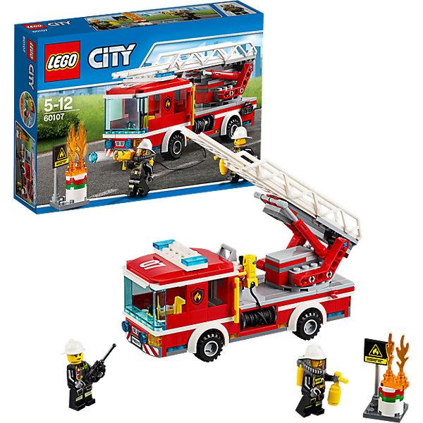 LEGO City 60107: Пожарный автомобиль с лестницейПластмассовые конструкторы<br>LEGO City (ЛЕГО Сити) 60107: Пожарный автомобиль с лестницей подарит Вашему ребенку новые веселые приключения и расширит игровые возможности. В городе Лего загорелась бочка с нефтью! Вместе с командой опытных пожарных поспеши на место происшествия пока бочка не взорвалась. Пожарная машинка, которую Вы сможете собрать из деталей набора, отличается высокой степенью детализации и множеством интересных элементов. Спереди располагается просторная кабина с местом для водителя, рулем, рычагами управления и прозрачным лобовым стеклом. На крыше размещаются сигнальные огни. Задняя часть автомобиля представляет собой платформу с пожарным шлангом, брандспойтом и складной лестницей. Также в комплект входят детали для сборки горящего бака и две минифигурки пожарных с аксессуарами.<br><br>Серия конструкторов  LEGO City позволяет почувствовать себя инженером и архитектором, строителем или мэром города. Вы можете создавать свой город мечты, развивать городскую инфраструктуру, строить дороги и здания, управлять городским хозяйством и следить за порядком.<br>В игровых наборах с разнообразными сюжетами много интересных персонажей, оригинальных объектов и городской техники. Это уникальная возможность для ребенка развивать фантазию и логическое мышление, узнавать и осваивать разные профессии.<br><br>Дополнительная информация:<br><br>- Игра с конструктором LEGO (ЛЕГО) развивает мелкую моторику ребенка, фантазию и воображение, учит его усидчивости и внимательности.<br>- Количество деталей: 214.<br>- Количество минифигур: 2.<br>- Серия: LEGO City (ЛЕГО Сити).<br>- Материал: пластик.<br>- Размер собранной пожарной машины: 8 х 20 х 5 см.<br>- Размер упаковки: 26 х 6 х 19 см.<br>- Вес: 0,365 кг.<br><br>LEGO City (ЛЕГО Сити) 60107: Пожарный автомобиль с лестницей можно купить в нашем интернет-магазине.<br><br>Ширина мм: 263<br>Глубина мм: 190<br>Высота мм: 63<br>Вес г: 385<br>Возраст от месяцев: 60<br>Возраст до месяц