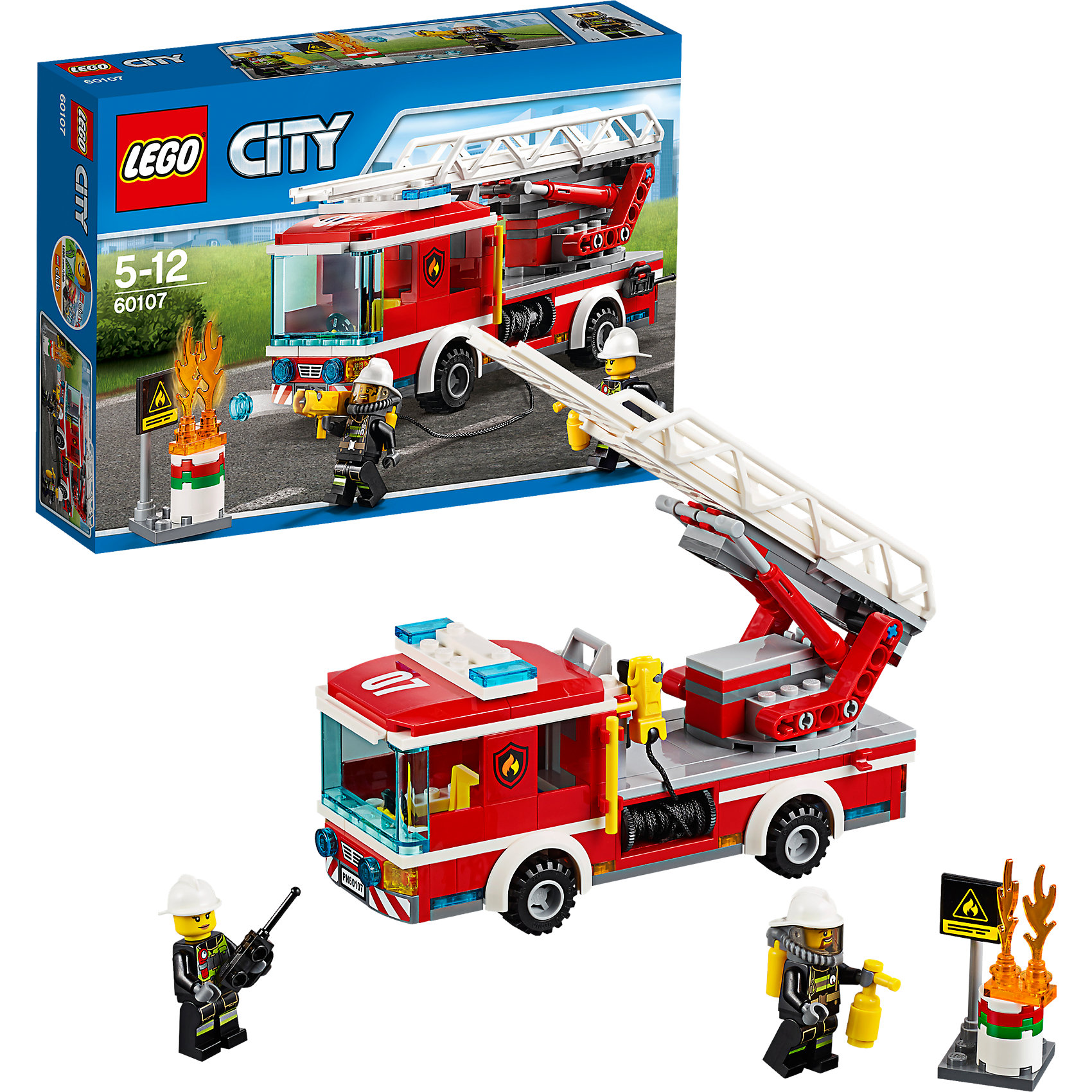 LEGO City 60107: Пожарный автомобиль с лестницейПластмассовые конструкторы<br>LEGO City (ЛЕГО Сити) 60107: Пожарный автомобиль с лестницей подарит Вашему ребенку новые веселые приключения и расширит игровые возможности. В городе Лего загорелась бочка с нефтью! Вместе с командой опытных пожарных поспеши на место происшествия пока бочка не взорвалась. Пожарная машинка, которую Вы сможете собрать из деталей набора, отличается высокой степенью детализации и множеством интересных элементов. Спереди располагается просторная кабина с местом для водителя, рулем, рычагами управления и прозрачным лобовым стеклом. На крыше размещаются сигнальные огни. Задняя часть автомобиля представляет собой платформу с пожарным шлангом, брандспойтом и складной лестницей. Также в комплект входят детали для сборки горящего бака и две минифигурки пожарных с аксессуарами.<br><br>Серия конструкторов  LEGO City позволяет почувствовать себя инженером и архитектором, строителем или мэром города. Вы можете создавать свой город мечты, развивать городскую инфраструктуру, строить дороги и здания, управлять городским хозяйством и следить за порядком.<br>В игровых наборах с разнообразными сюжетами много интересных персонажей, оригинальных объектов и городской техники. Это уникальная возможность для ребенка развивать фантазию и логическое мышление, узнавать и осваивать разные профессии.<br><br>Дополнительная информация:<br><br>- Игра с конструктором LEGO (ЛЕГО) развивает мелкую моторику ребенка, фантазию и воображение, учит его усидчивости и внимательности.<br>- Количество деталей: 214.<br>- Количество минифигур: 2.<br>- Серия: LEGO City (ЛЕГО Сити).<br>- Материал: пластик.<br>- Размер собранной пожарной машины: 8 х 20 х 5 см.<br>- Размер упаковки: 26 х 6 х 19 см.<br>- Вес: 0,365 кг.<br><br>LEGO City (ЛЕГО Сити) 60107: Пожарный автомобиль с лестницей можно купить в нашем интернет-магазине.<br><br>Ширина мм: 264<br>Глубина мм: 190<br>Высота мм: 66<br>Вес г: 373<br>Возраст от месяцев: 60<br>Возраст до месяц