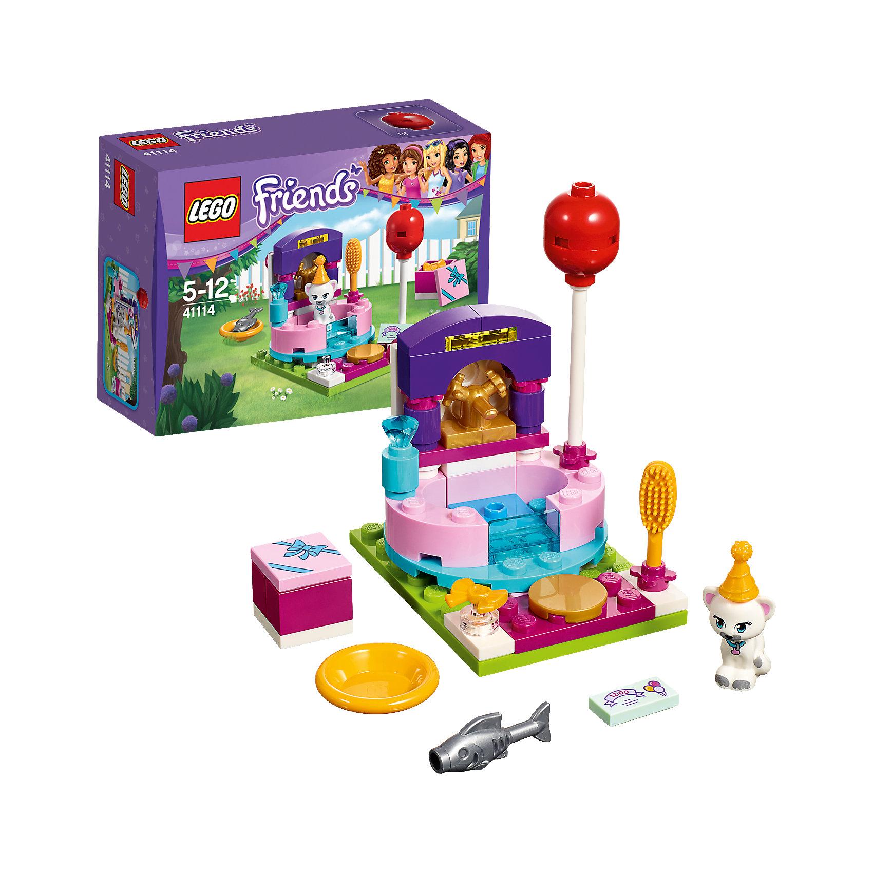 LEGO Friends 41114: День рождения: салон красотыКошка Джунс приглашена на вечеринку по случаю Дня рождения. Она должна подготовиться. Вымой её в ванне с шампунем, а затем посади перед зеркалом, чтобы причесать. Потом дай ей немного рыбки, её любимого лакомства, чтобы развлечь её, пока не придёт время ехать на вечеринку!<br><br>LEGO Friends (ЛЕГО Подружки)- серия детских конструкторов ЛЕГО, созданных специально для девочек. Эта коллекция объединяет в себе принципы строительного конструктора ЛЕГО и игровые темы, яркие цвета и образы интересные для девочек.<br><br>Дополнительная информация:<br><br>- Конструкторы ЛЕГО развивают усидчивость, внимание, фантазию и мелкую моторику. <br>- 1 фигурка кошки.<br>- В комплекте салон красоты, фигурка кошки, шампунь, расчёска, украшение для волос, воздушный шар, подарочная коробка, праздничный колпачок, приглашение на День рождения, миска и рыба.<br>- Количество деталей: 54<br>- Серия LEGO Friends (ЛЕГО Подружки).<br>- Материал: пластик.<br>- Размер упаковки: 12х4,7х9 см.<br>- Размер салона красоты в собранном виде: 5х6х4 см.<br>- Вес: 0.065 кг.<br><br>LEGO Friends 41112: День рождения: тортики можно купить в нашем магазине.<br><br>Ширина мм: 122<br>Глубина мм: 91<br>Высота мм: 48<br>Вес г: 68<br>Возраст от месяцев: 60<br>Возраст до месяцев: 144<br>Пол: Женский<br>Возраст: Детский<br>SKU: 4259063