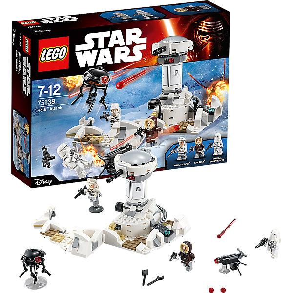 LEGO Star Wars 75138: Нападение на Хот™Игрушки<br>LEGO Star Wars (ЛЕГО Звездные войны) 75138: Нападение на Хот станет прекрасным подарком для всех поклонников знаменитой киносаги. Имперские силы обнаружили местонахождение тайной базы Повстанцев на планете Хот и атаковали ее. В ходе крупнейшего сражения между мятежниками и Империей повстанцам пришлось отступить, а их база была уничтожена. В наборе Вы найдете детали для сборки части базы с башней-турелью. Основание базы состоит из нескольких пластин и может поворачиваться. К турели, которая стреляет двумя снарядами, присоединен резиновый провод, соединенный с пультом управления. Сбоку на корпусе находится колесо, с помощью которого башню можно вращать. Люк на башне открывается. В комплект также входят различные подставки, пулемет, выстреливающий маленькими зарядами и 3 минифигурки: Хан Соло, солдат Повстанцев и штурмовик Империи. <br><br>Все конструкторы серии ЛЕГО Звездные войны созданы по мотивам знаменитой киносаги Звездные войны и воспроизводят самые популярные сюжеты и эпизоды фильма. В наборах представлены все основные средства вооружения и боевые единицы, задействованные в фильме.<br>Фантастические истребители, машины, роботы, оружие, фигурки персонажей выполнены очень реалистично, с высокой степенью детализации.<br><br>Дополнительная информация:<br><br>- Игра с конструктором LEGO (ЛЕГО) развивает мелкую моторику ребенка, фантазию и воображение, учит его усидчивости и внимательности.<br>- Количество деталей: 233.<br>- Количество минифигур: 3.<br>- Серия: LEGO Star Wars (ЛЕГО Звездные войны).<br>- Материал: пластик.<br>- Размер упаковки: 26,5 х 6 х 19 см.<br>- Вес: 0,36 кг.<br><br>Конструктор LEGO Star Wars (ЛЕГО Звездные войны)  75138: Нападение на Хот можно купить в нашем интернет-магазине.<br><br>Ширина мм: 263<br>Глубина мм: 190<br>Высота мм: 66<br>Вес г: 354<br>Возраст от месяцев: 84<br>Возраст до месяцев: 144<br>Пол: Мужской<br>Возраст: Детский<br>SKU: 4259068