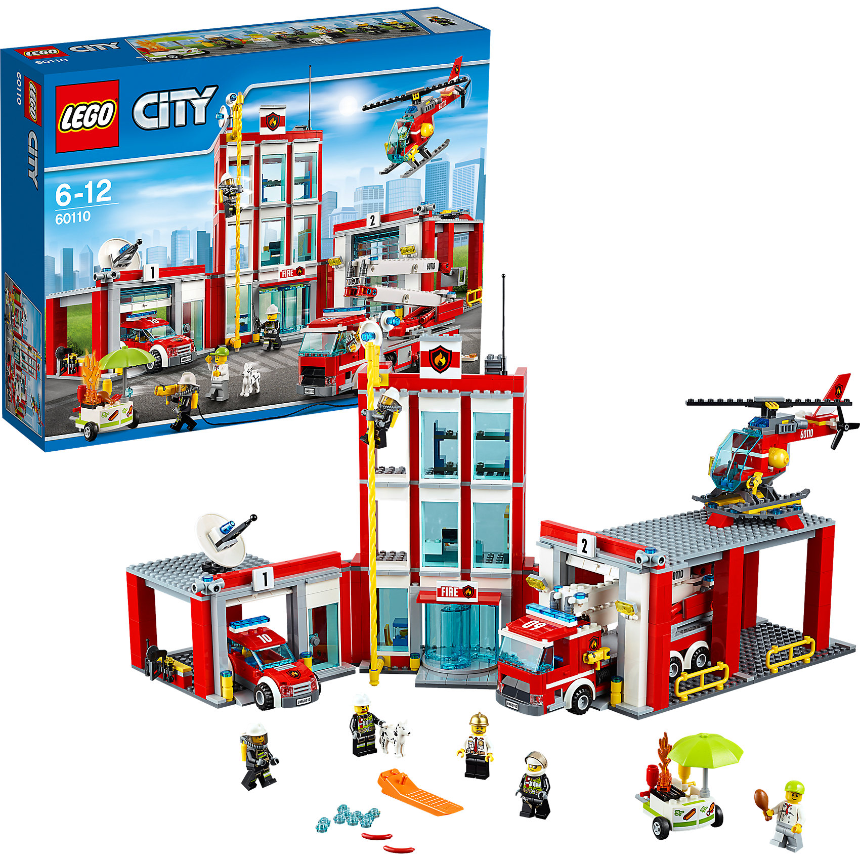 LEGO City 60110: Пожарная частьLEGO City (ЛЕГО Сити) 60110: Пожарная часть подарит Вашему ребенку новые веселые приключения и расширит игровые возможности. Пожарная часть Лего-сити - это впечатляющий современный комплекс, оснащенный по последнему слову техники. Территория части представляет собой три соединенных здания, самое высокое из которых - главный трехуровневый корпус. На первом этаже располагается просторный зал с местом дежурного, попасть в который можно через вращающиеся двери. На втором этаже находится рабочий кабинет главного пожарного, оснащенный современным оборудованием - интерактивной картой города, телефоном и компьютером. Поднявшись на верхний уровень, Вы попадете комнату отдыха для пожарных, где они могут поспать на удобных кроватях. Но как только прозвучит сирена они быстро спустятся на первый этаж по пожарному шесту. Слева от главного корпуса находится гараж для легковых автомобилей, а справа большой ангар для пожарной машины. Прямоугольная крыша ангара служит площадкой для взлёта и посадки пожарного вертолёта. В комплект также входят пожарная легковая машина, большая пожарная машина с лестницей, вертолёт, тележка с закусками, различные игровые аксессуары и  шесть минифигурок: четыре пожарных, главный пожарный и продавец закусок.<br><br>Серия конструкторов  LEGO City позволяет почувствовать себя инженером и архитектором, строителем или мэром города. Вы можете создавать свой город мечты, развивать городскую инфраструктуру, строить дороги и здания, управлять городским хозяйством и следить за порядком.<br>В игровых наборах с разнообразными сюжетами много интересных персонажей, оригинальных объектов и городской техники. Это уникальная возможность для ребенка развивать фантазию и логическое мышление, узнавать и осваивать разные профессии.<br><br>Дополнительная информация:<br><br>- Игра с конструктором LEGO (ЛЕГО) развивает мелкую моторику ребенка, фантазию и воображение, учит его усидчивости и внимательности.<br>- Количество деталей: 919.<br>- Количе