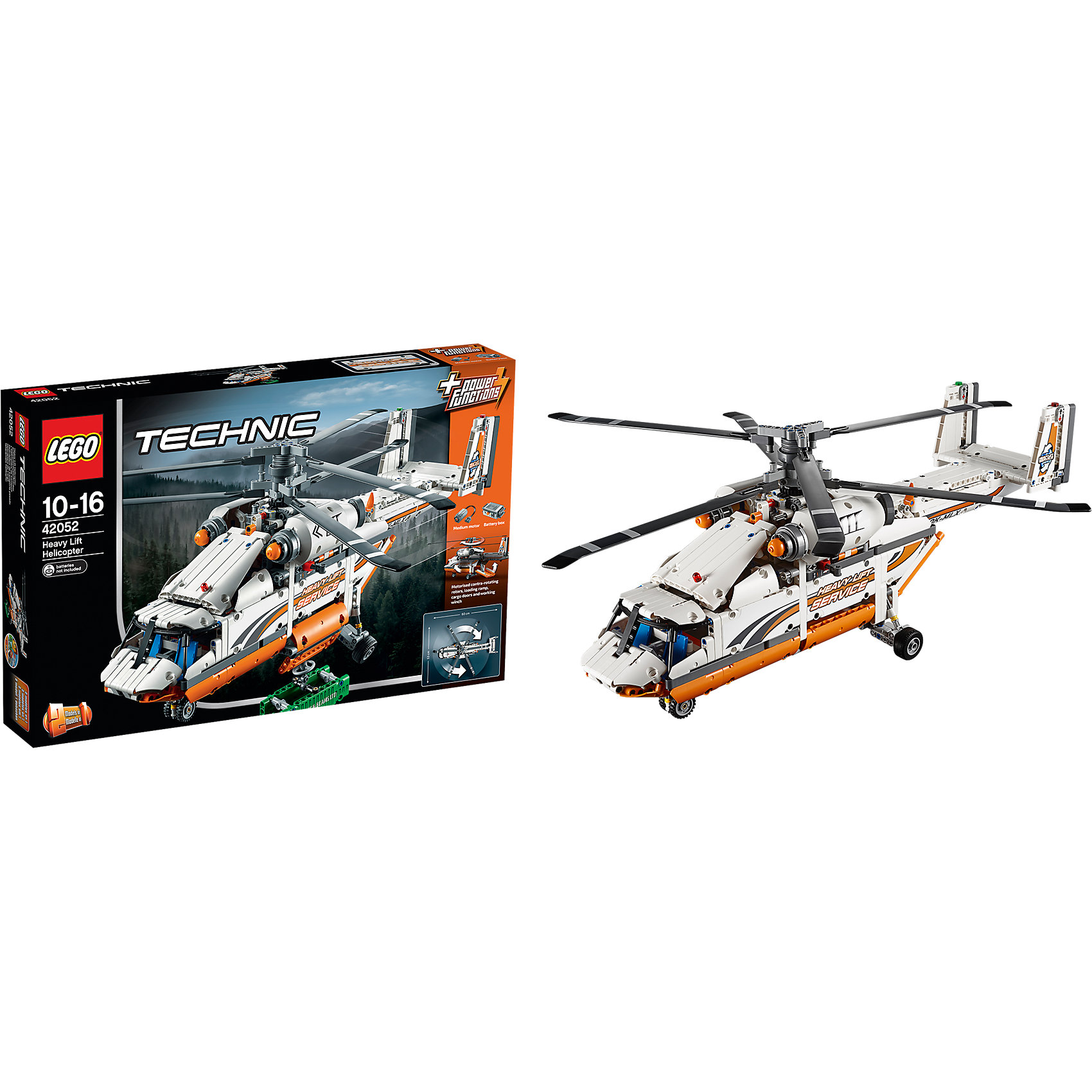LEGO Technic 42052: Грузовой вертолетПластмассовые конструкторы<br>Характеристики:<br><br>• Предназначение: набор для конструирования, сюжетно-ролевые игры<br>• Пол: для мальчиков<br>• Материал: пластик<br>• Цвет: белый, черный, серый, оранжевый<br>• Серия LEGO: Technic<br>• Размер упаковки (Д*Ш*В): 58*8,7*37,8 см<br>• Вес: 1 кг 845 г<br>• Количество деталей: 1042 шт.<br>• Наличие двигающихся, вращающихся и открывающихся элементов<br>• Комплектация: детали для конструирования 2-х вариантов грузового воздушного транспорта<br>• Батарейки: 6 шт. типа АА (в комплекте не предусмотрены)<br><br>LEGO Technic 42052: Грузовой вертолет – набор от всемирно известного производителя конструкторов для детей всех возрастных категорий. LEGO Technic 42025: Грузовой самолёт является базовым набором повышенной сложности серии Technic. Элементы конструктора позволяют сконструировать 2 варианта грузового транспорта: грузовой вертолет или двухроторный вертолет. Разнообразие элементов позволят воссоздавать юному конструктору все реалистичные элементы и функции грузового воздушного транспорта: вращающиеся винты, открывающийся грузовой отсек, лебедка, подвижный хвостовой руль и др. В комплекте предусмотрена яркая инструкция, которая научит вашего ребенка действовать по образцу. <br>Игры с конструкторами LEGO развивают усидчивость, внимательность, мелкую моторику рук, способствуют формированию конструкторского мышления. С набором LEGO Technic 42052: Грузовой вертолет ваш ребенок сможет придумывать целые сюжетные истории, развивая тем самым воображение и обогащая свой словарный запас. <br><br>LEGO Technic 42052: Грузовой вертолет можно купить в нашем интернет-магазине.<br><br>Ширина мм: 583<br>Глубина мм: 375<br>Высота мм: 86<br>Вес г: 1872<br>Возраст от месяцев: 120<br>Возраст до месяцев: 192<br>Пол: Мужской<br>Возраст: Детский<br>SKU: 4259081