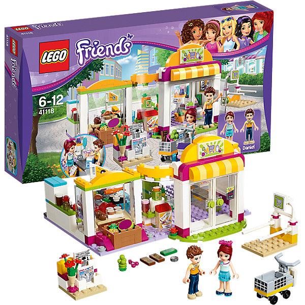 LEGO Friends 41118: СупермаркетКонструкторы Лего<br>Настало время для еженедельного шопинга Мии. Присоединяйся к ней в супермаркете Хартлейк Сити и захвати тележку с парковки. Пройдись между торговыми рядами супермаркета. Что купим сегодня? Купи свежие фрукты и овощи, зерновые завтраки и суши, прежде чем отправиться в кондитерский отдел, где вас уже ждёт Даниэль с только что вынутым из духовки печеньем, которым он всех угощает. Не забудь остановится у стенда с косметикой, а потом можно направляться к кассе!<br><br>LEGO Friends (ЛЕГО Подружки)- серия детских конструкторов ЛЕГО, созданных специально для девочек. Эта коллекция объединяет в себе принципы строительного конструктора ЛЕГО и игровые темы, яркие цвета и образы интересные для девочек.<br><br>Дополнительная информация:<br><br>- Конструкторы ЛЕГО развивают усидчивость, внимание, фантазию и мелкую моторику. <br>- 1 фигурки: Мия, Даниэль.<br>- В комплекте 2 фигурки, магазин, тележка для продуктов, газеты, цветы, арбуз, ананас, вишня, виноград, лимон, апельсин, морковь, хлопья для завтрака, сок, варенье, шоколад, куриный окорочок, сыр, рыба, суши, яблочные пироги, печенье, пирожные, молоко, бутылки, банки, расчёска, помада, 2 флакона духов, монета, денежная банкнота, список покупок, весы, щипцы, сумка и кассовый аппарат.<br>- Количество деталей: 313<br>- Серия LEGO Friends (ЛЕГО Подружки).<br>- Материал: пластик.<br>- Размер упаковки: 19х6х14 см.<br>- Размер магазина в сложенном виде: 10х19х16 см.<br>- Размер в раскрытом виде: 10х28х12 см. <br>- Вес: 0.52 кг.<br><br>LEGO Friends 41118: Супермаркет можно купить в нашем магазине.<br><br>Ширина мм: 351<br>Глубина мм: 190<br>Высота мм: 60<br>Вес г: 515<br>Возраст от месяцев: 72<br>Возраст до месяцев: 144<br>Пол: Женский<br>Возраст: Детский<br>SKU: 4259083