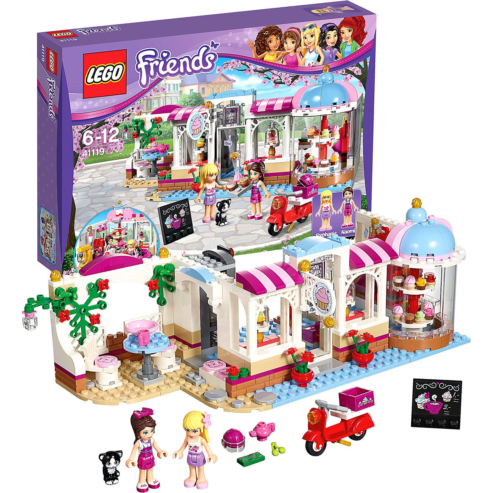 LEGO Friends 41119: КондитерскаяПластмассовые конструкторы<br>Помоги официантке Наоми приготовить вкусные кексы для своих клиентов. Поворачивай витрину, чтобы выбрать самые лучшие товары, и посиди со Стефани во внутреннем дворике, чтобы попробовать кексы за чашкой чая. Погладь дружелюбного кота, прежде чем вернуться к работе. Прими телефонный заказ, а затем доставляй сладкие кексы на скутере Наоми по всему Хартлейк Сити!<br><br>LEGO Friends (ЛЕГО Подружки)- серия детских конструкторов ЛЕГО, созданных специально для девочек. Эта коллекция объединяет в себе принципы строительного конструктора ЛЕГО и игровые темы, яркие цвета и образы интересные для девочек.<br><br>Дополнительная информация:<br><br>- Конструкторы ЛЕГО развивают усидчивость, внимание, фантазию и мелкую моторику. <br>- 2 фигурки.<br>- В комплекте 2 фигурки, кондитерская, скутер, кошка, кофеварка, чайник, чашки, миксер, противень, подносы, кассовый аппарат, деньги, телефон, вывеска, мотоциклетный шлем, украшения для волос, цветы, фрукты и бесконечное множество пирожных.<br>- Количество деталей: 438.<br>- Серия LEGO Friends (ЛЕГО Подружки).<br>- Материал: пластик.<br>- Размер упаковки: 38х7х26 см.<br>- Размер кондитерской в собранном виде: 10х28х12 см.<br>- Вес: 0.71 кг.<br><br>LEGO Friends 41119: Кондитерская можно купить в нашем магазине.<br><br>Ширина мм: 382<br>Глубина мм: 261<br>Высота мм: 73<br>Вес г: 730<br>Возраст от месяцев: 72<br>Возраст до месяцев: 144<br>Пол: Женский<br>Возраст: Детский<br>SKU: 4259084